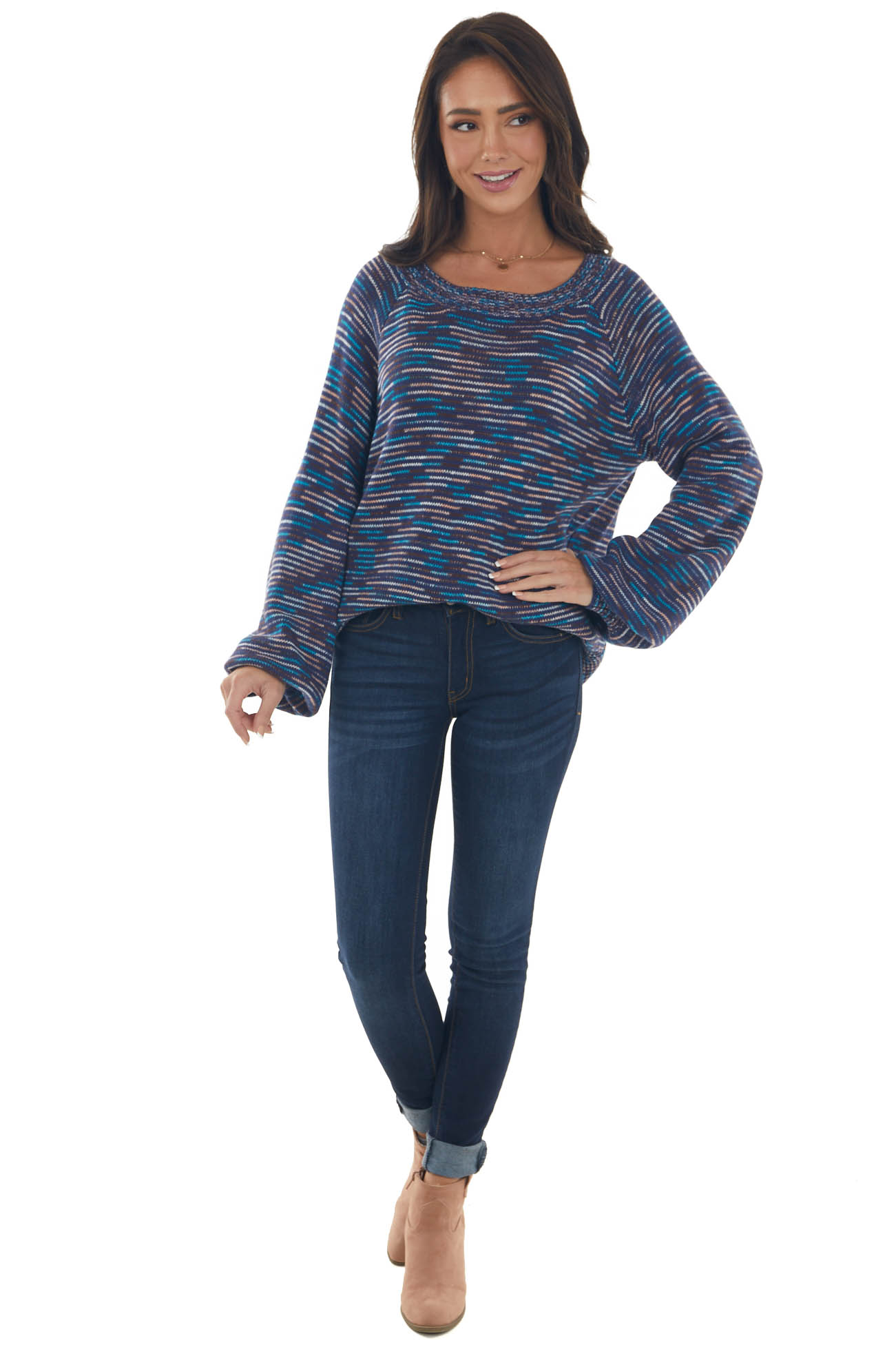 Navy Multicolor Striped Thread Knit Sweater