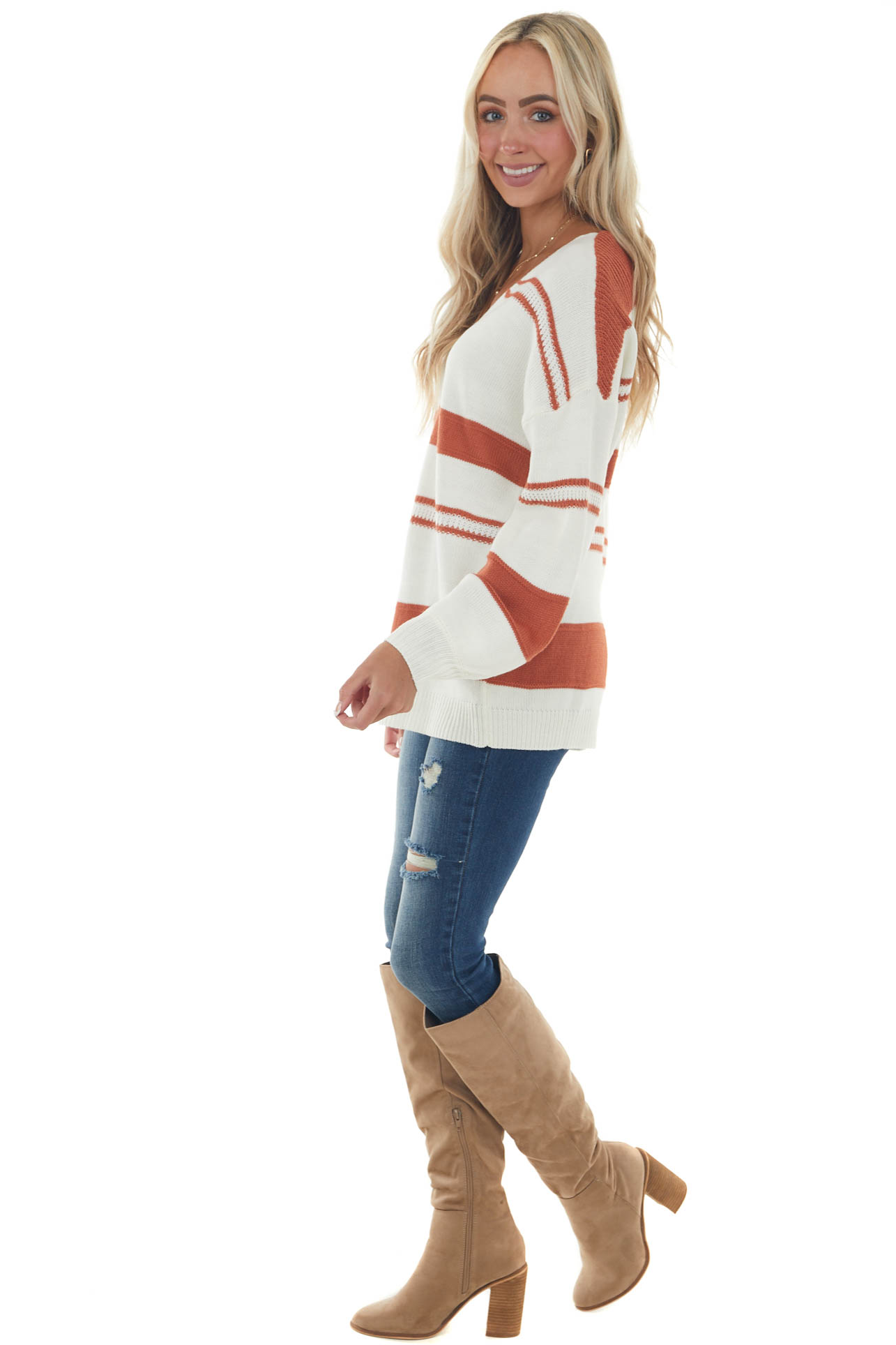 Rust and Ivory Striped V Neck Knit Sweater