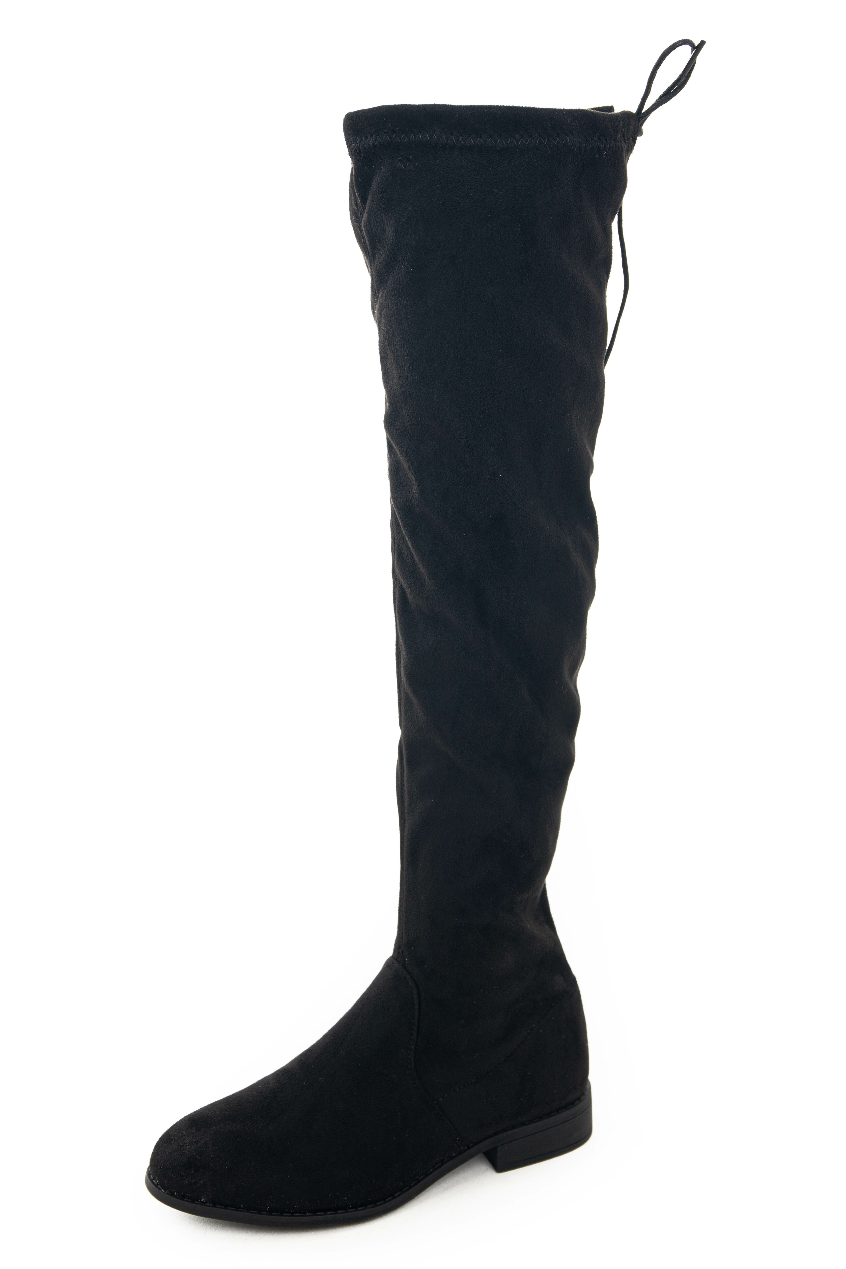 Black Suede Knee High Boots with Drawstring