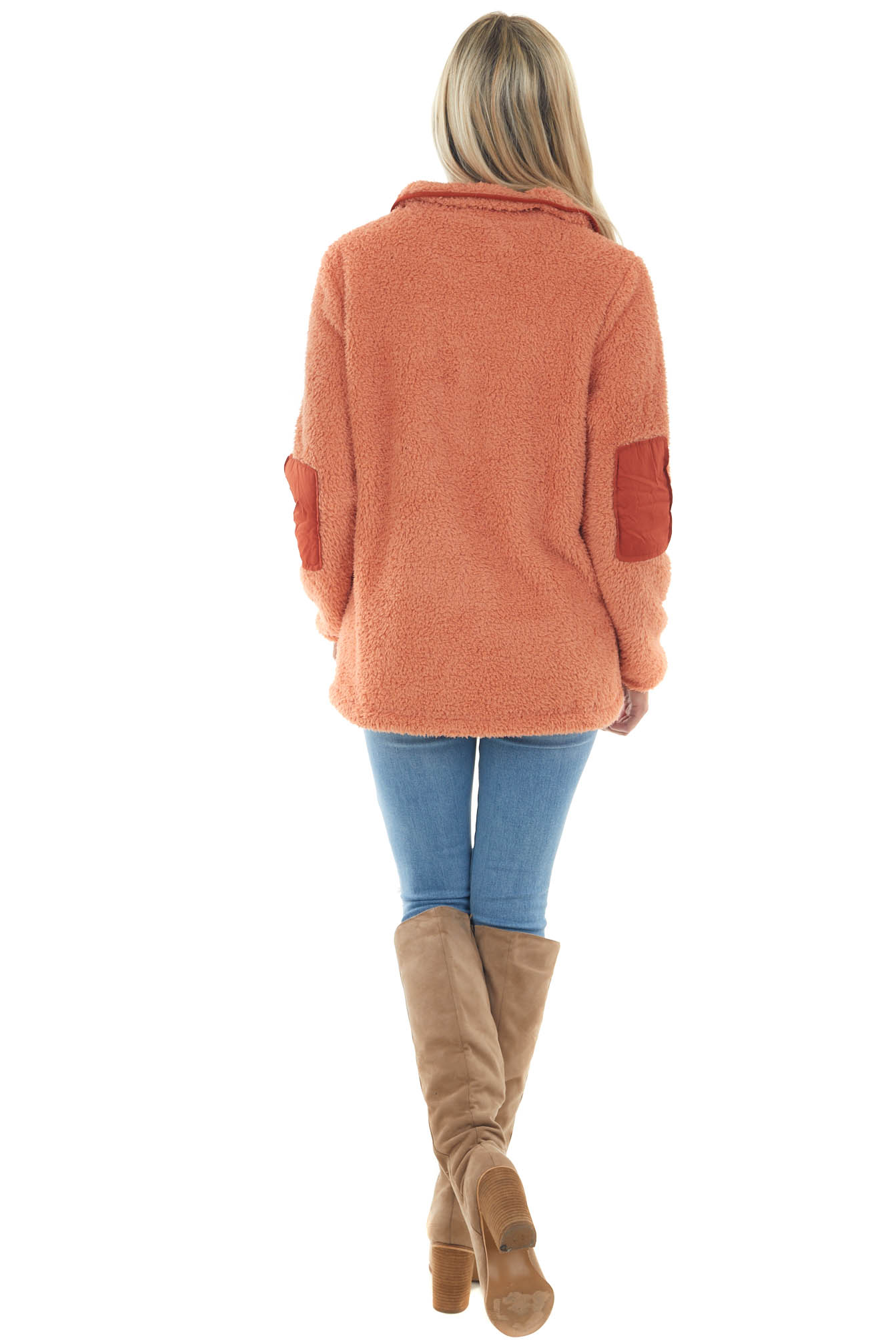 Deep Coral and Rust Fleece Pullover Jacket