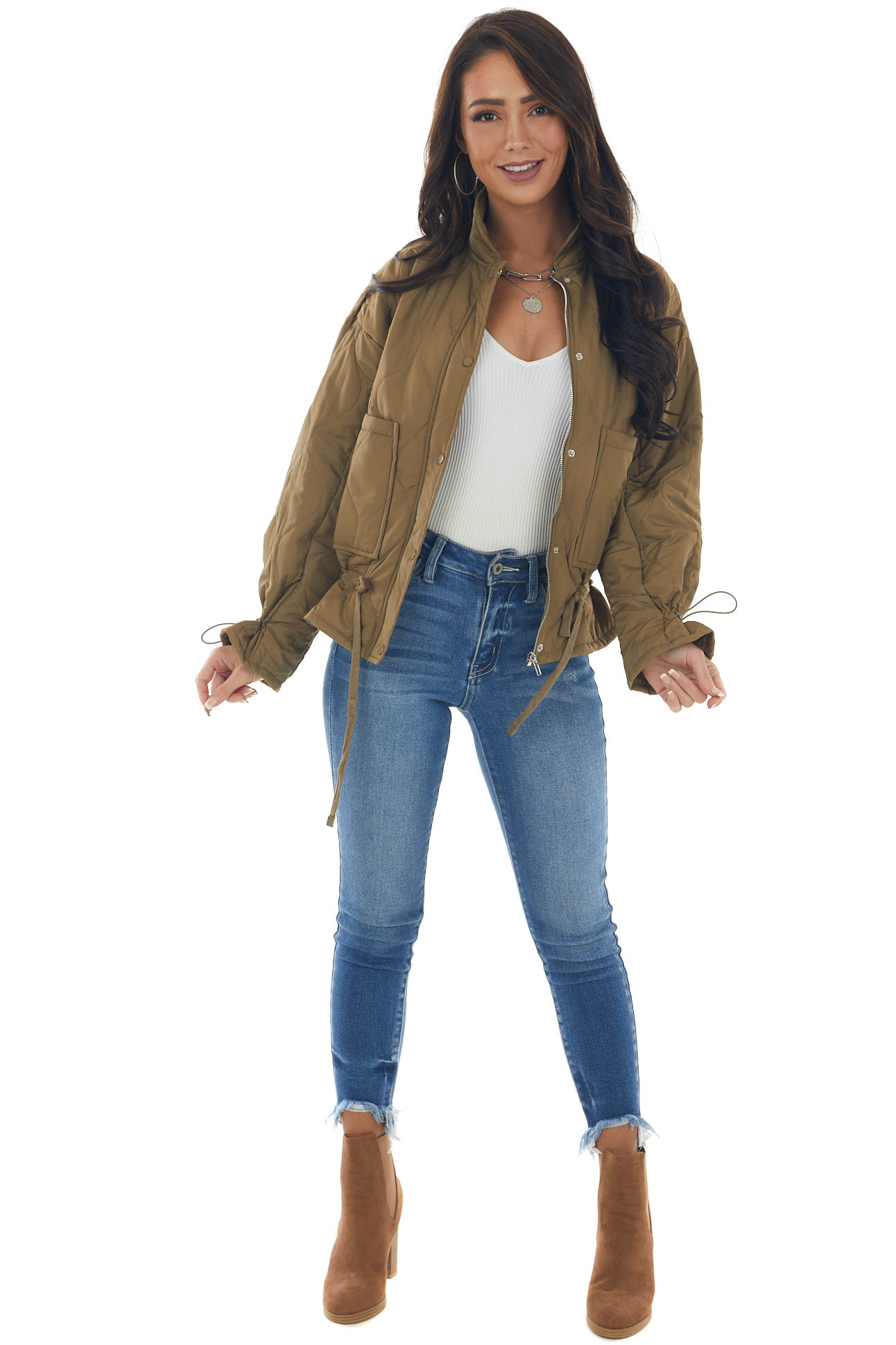 Olive Quilted Drawstring Waist Puffer Jacket
