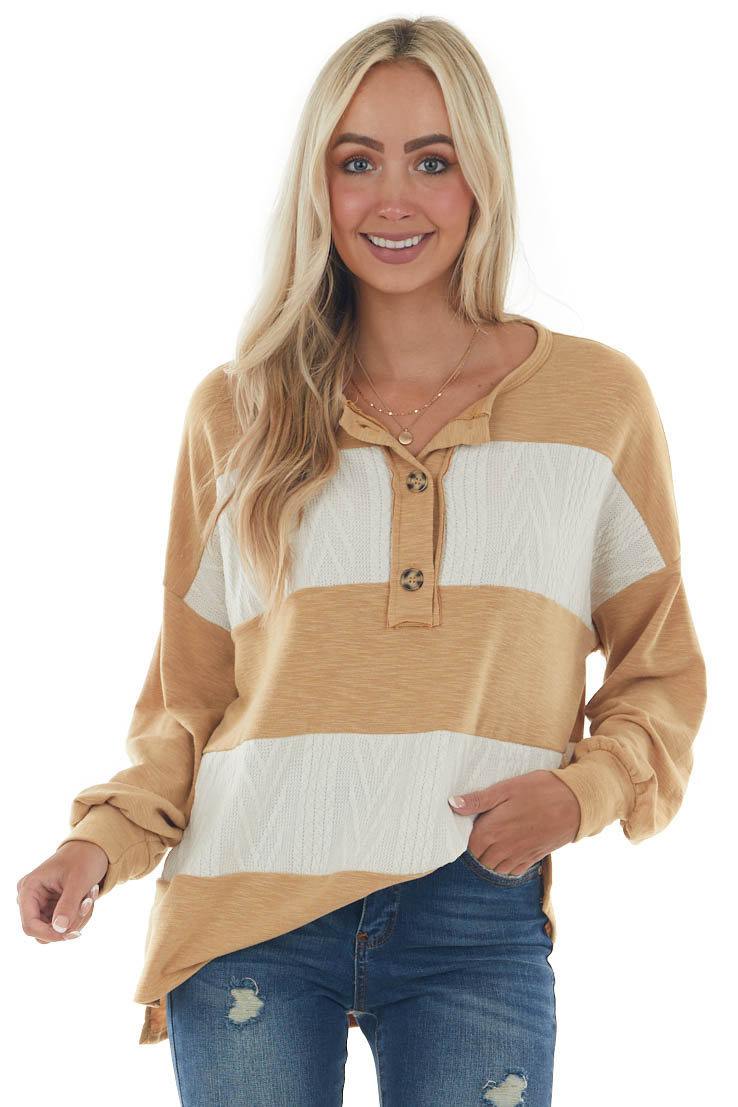 Heathered Copper Striped Henley Style Knit Top