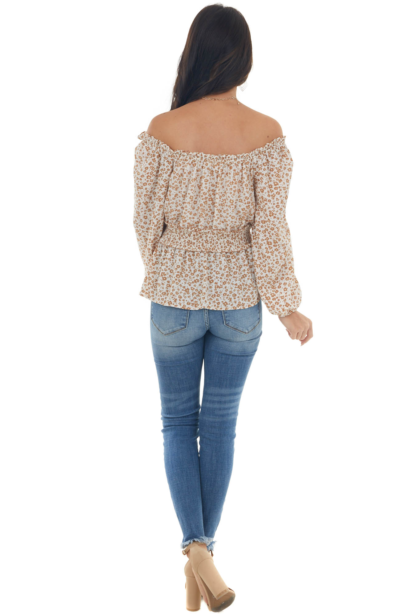 Ivory Glitter Ditsy Floral Smocked Peplum Top