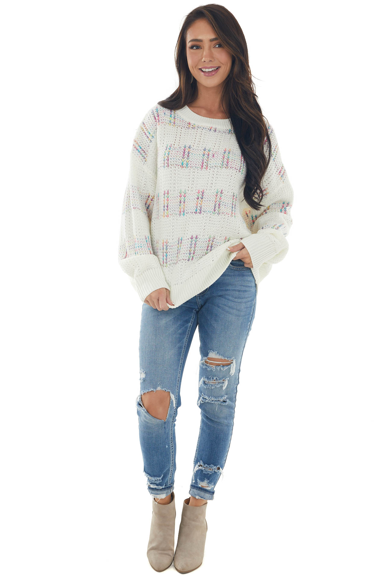 Ivory Striped Multicolored Thread Knit Sweater