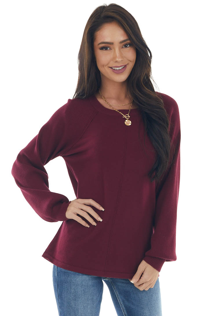 Wine Red Lightweight Crew Neck Ribbed Sweater