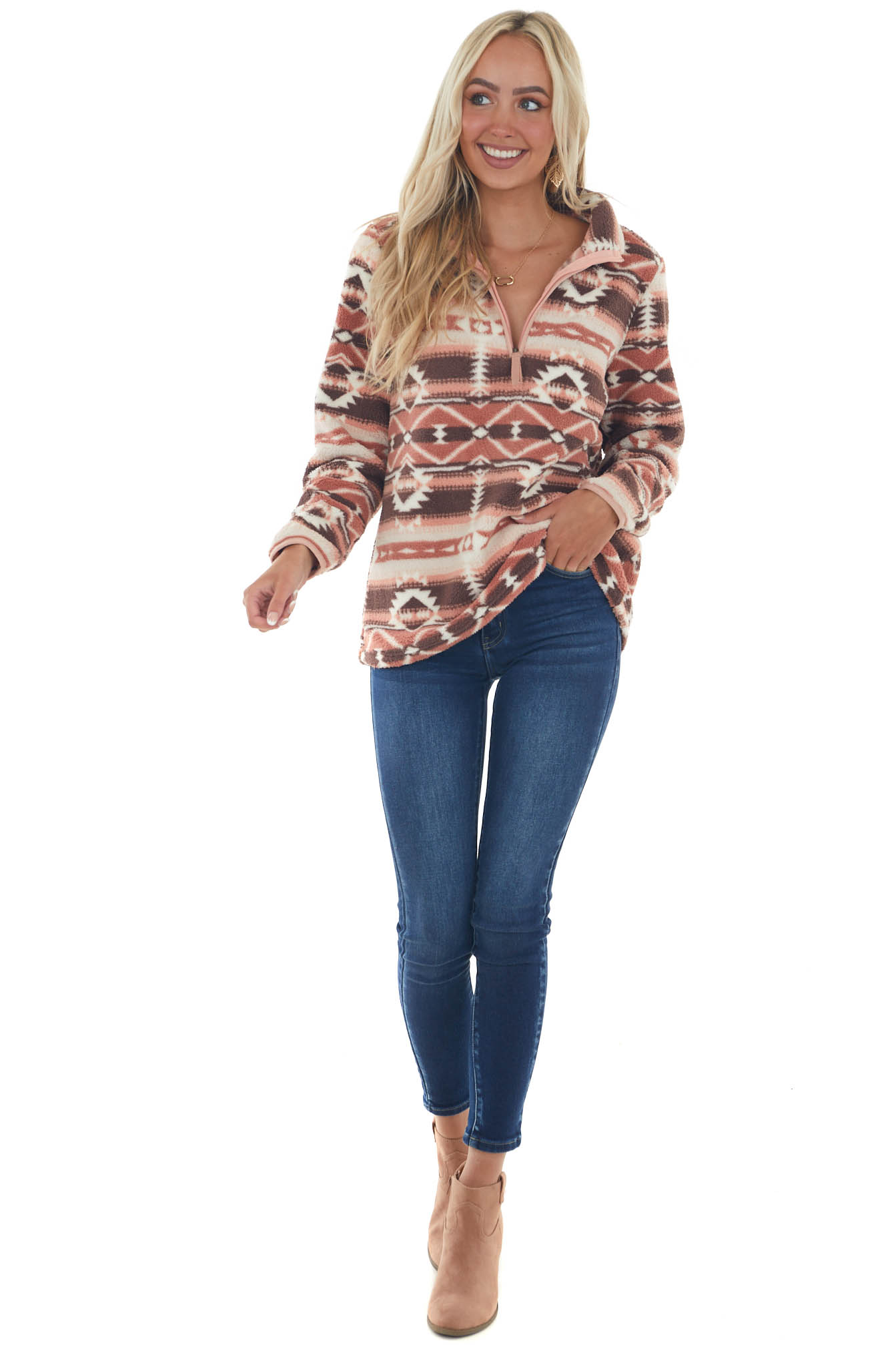 Ginger and Cocoa Aztec Fleece Pullover Jacket