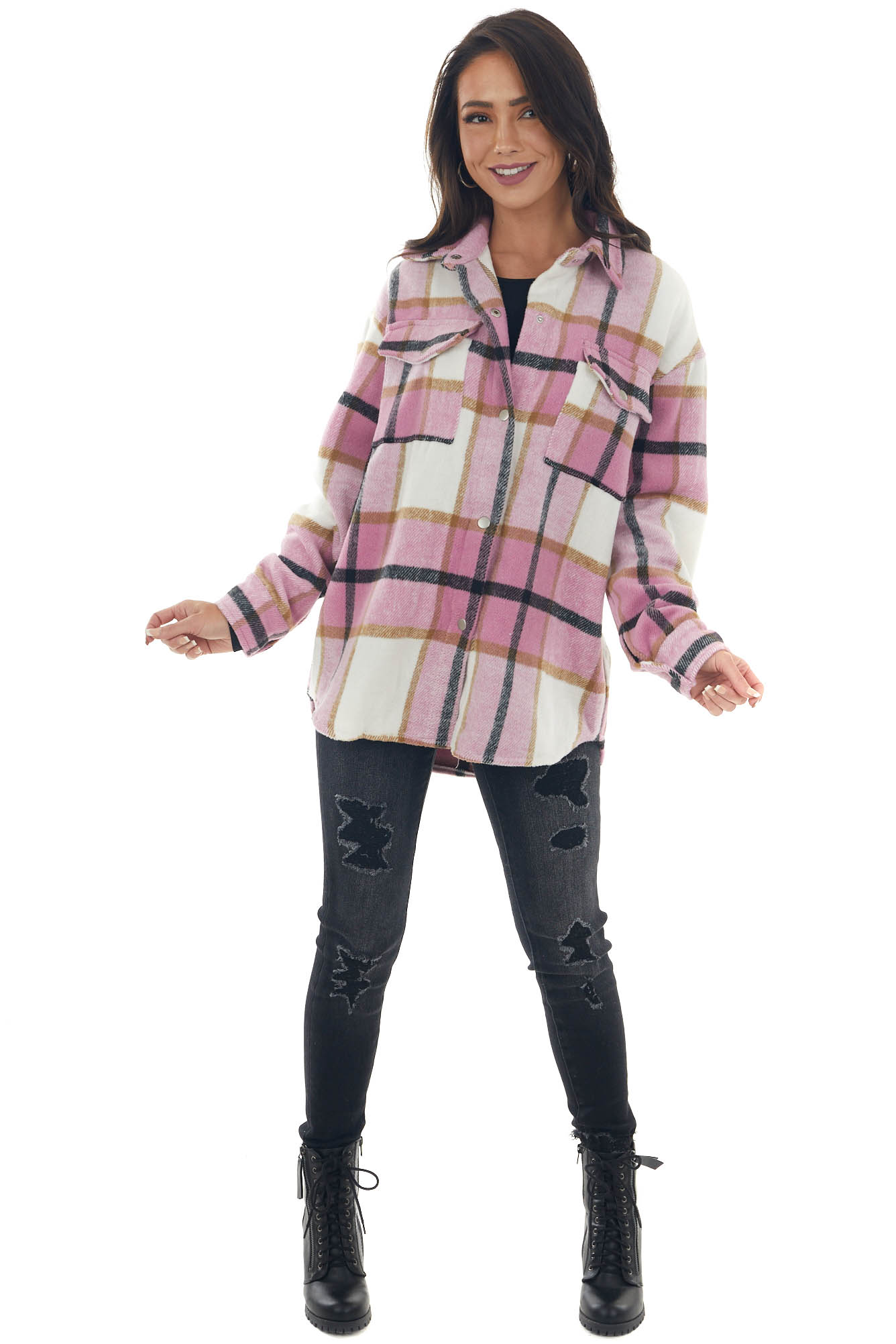 Baby Pink Plaid Snap Button Down Shirt Jacket