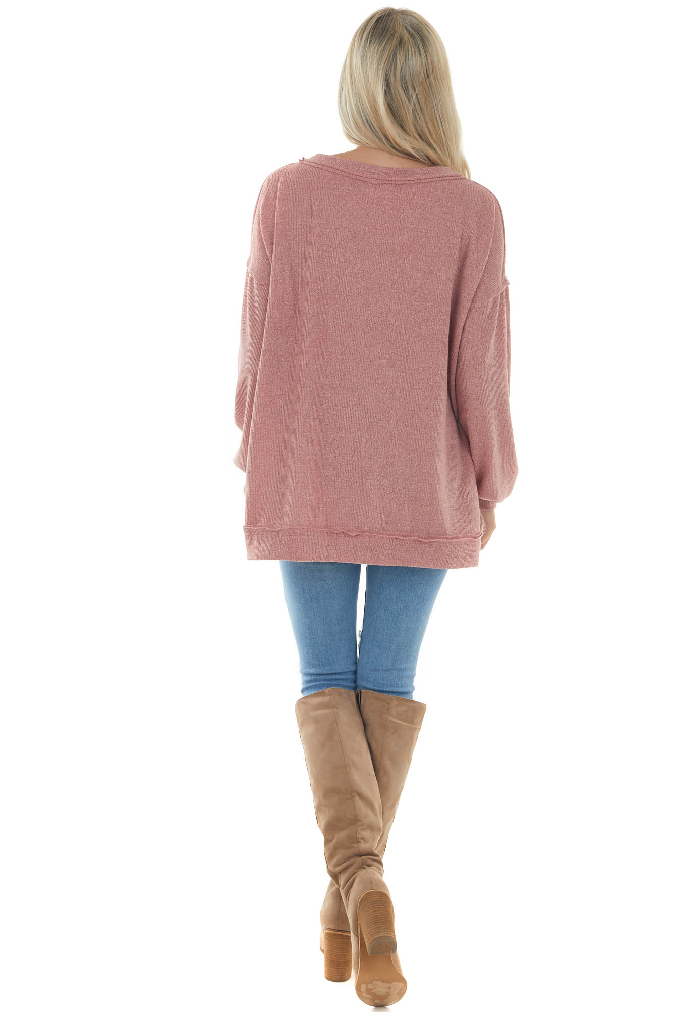 Hazy Rose Raw Edge Loose Knit Pullover Top