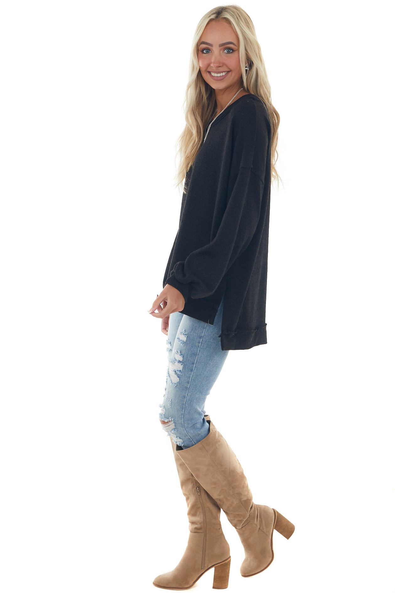 Black Raw Edge Loose Knit Pullover Top