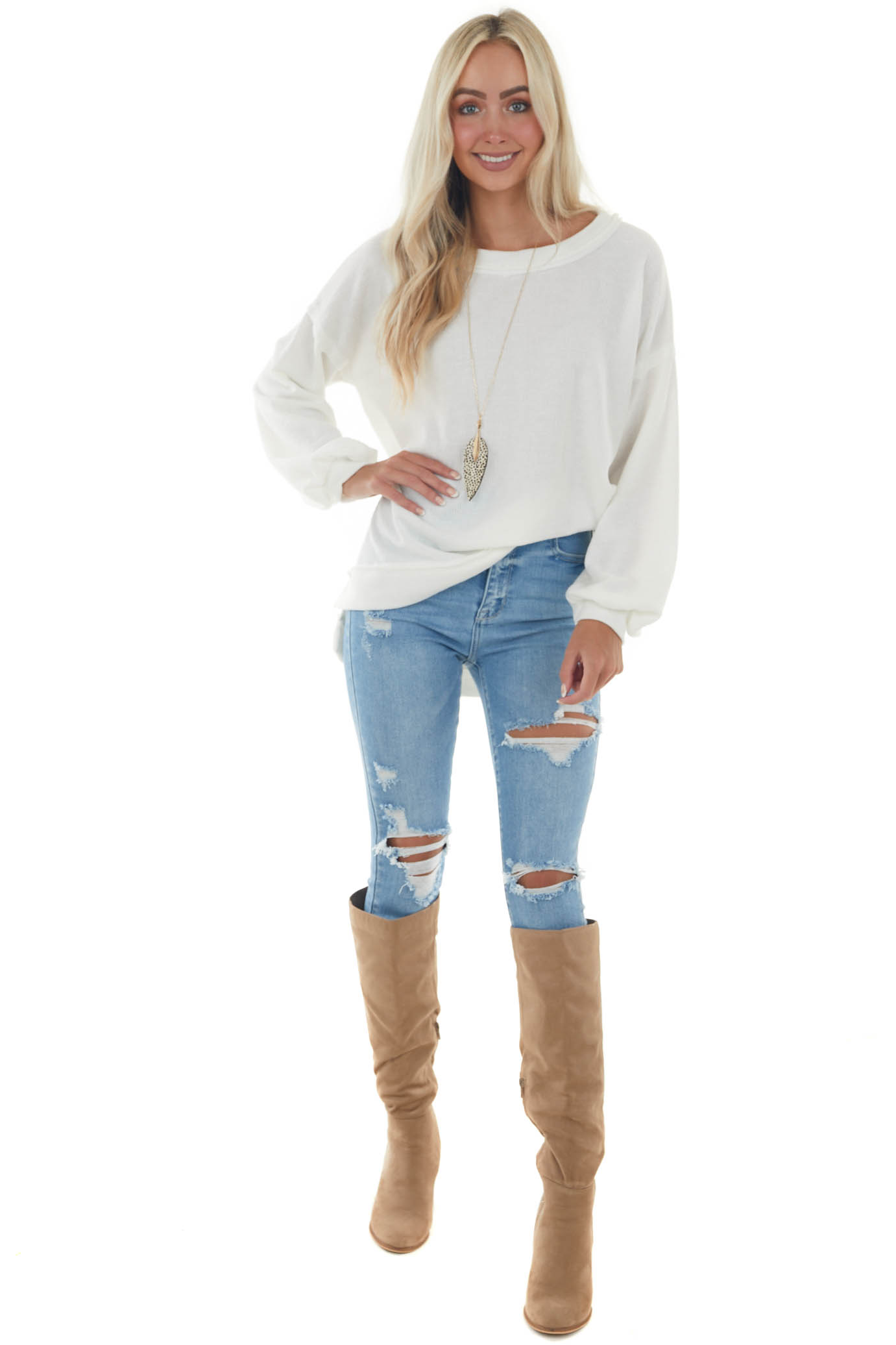 Ivory Raw Edge Loose Knit Pullover Top