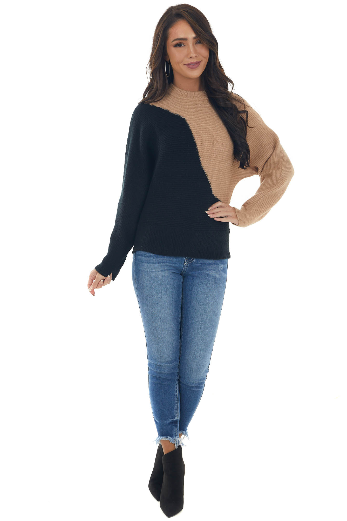 Black and Sand Asymmetrical Colorblock Sweater