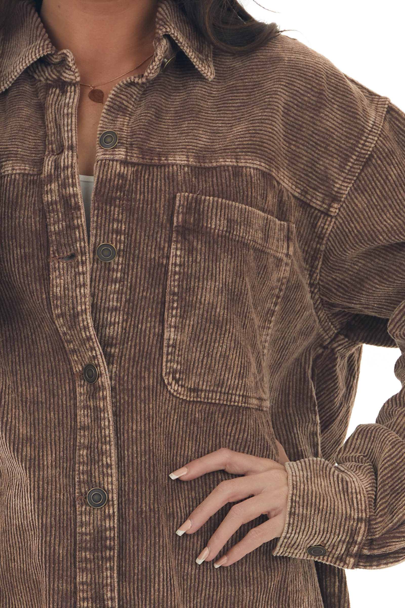 Sepia Washed Corduroy Button Up Shacket
