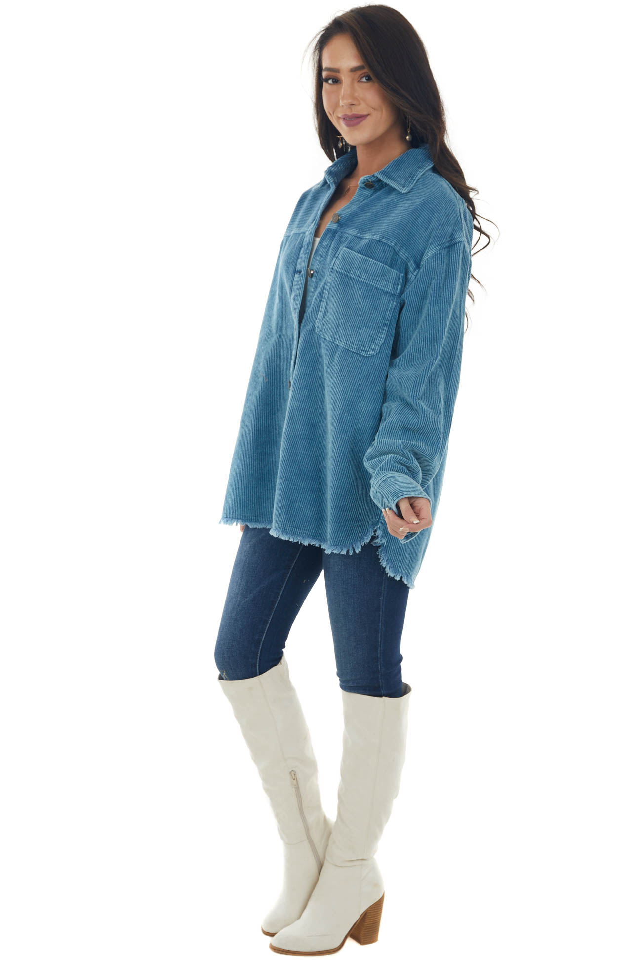 Steel Blue Washed Corduroy Button Up Shacket