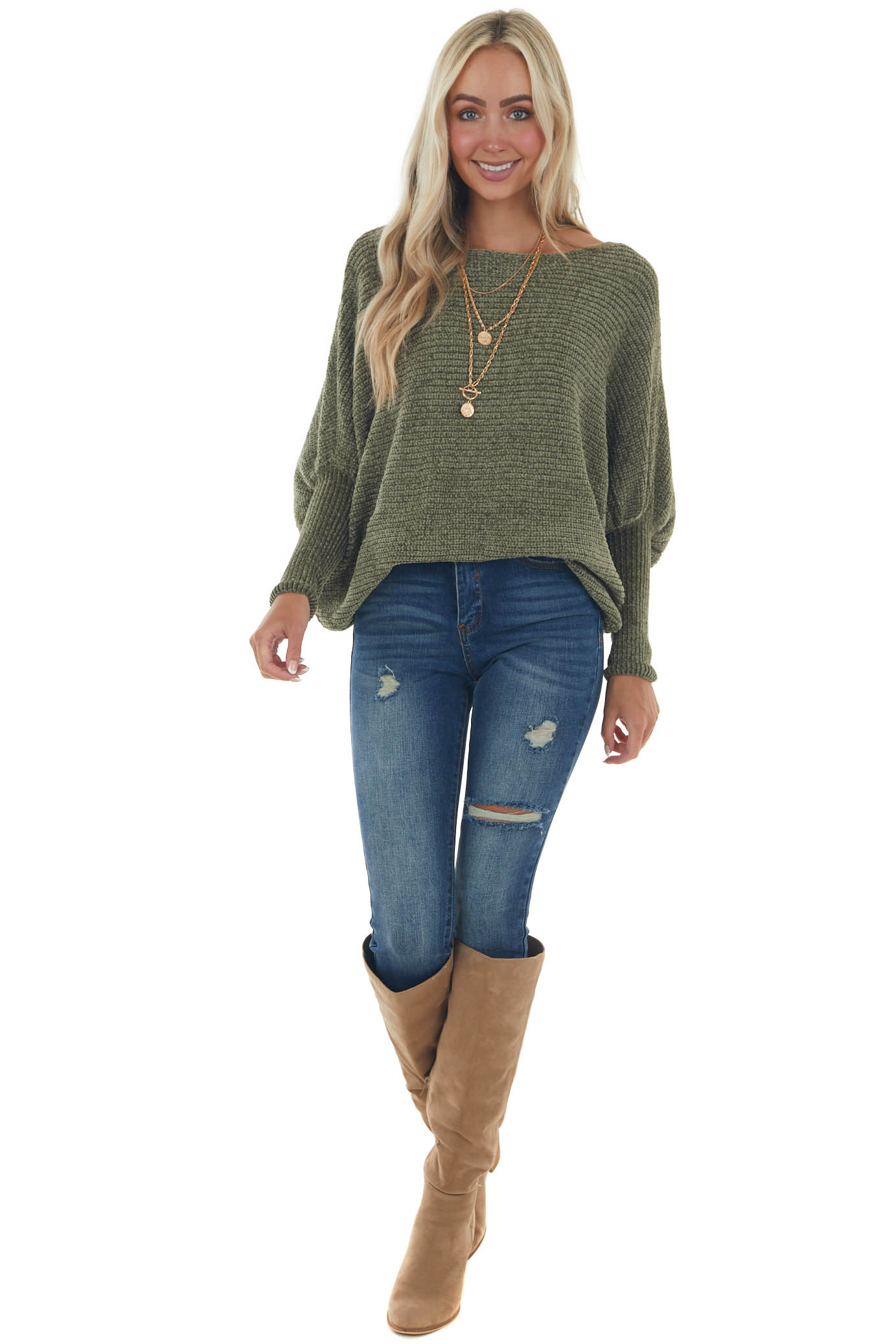 Olive Chenille Dolman Sleeve Long Cuff Sweater