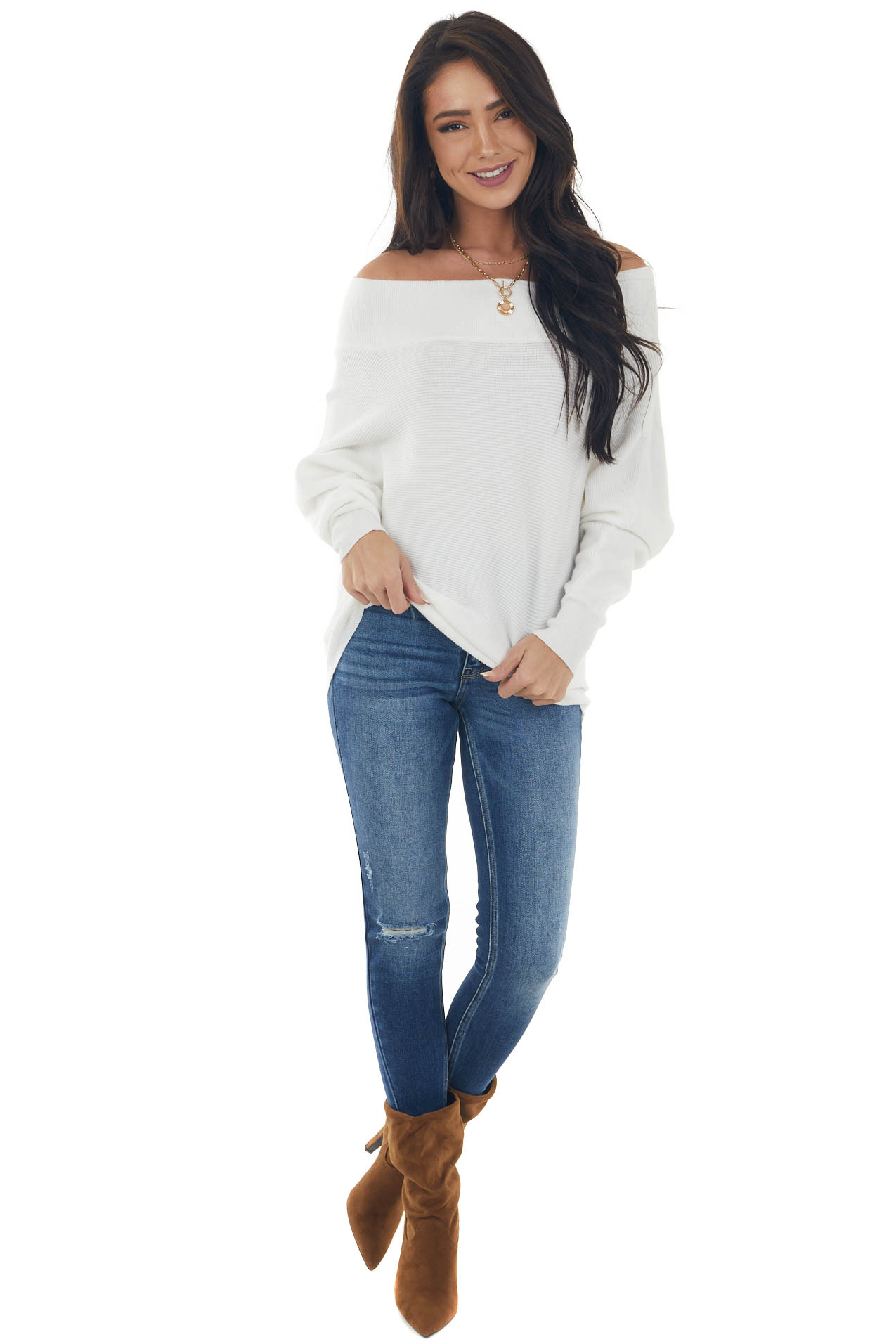 White Ribbed Off Shoulder Sweater