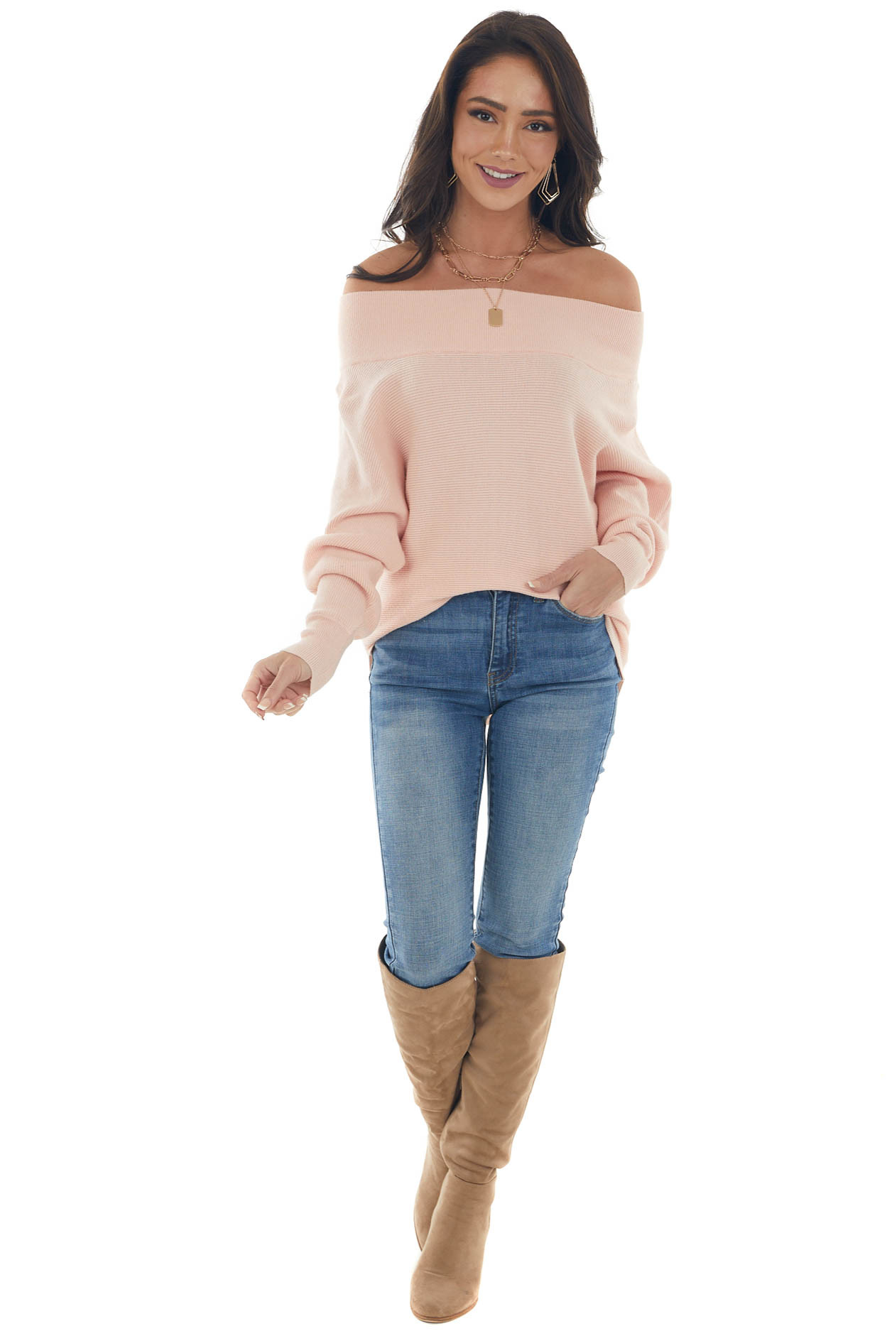 Cherry Blossom Ribbed Off Shoulder Sweater