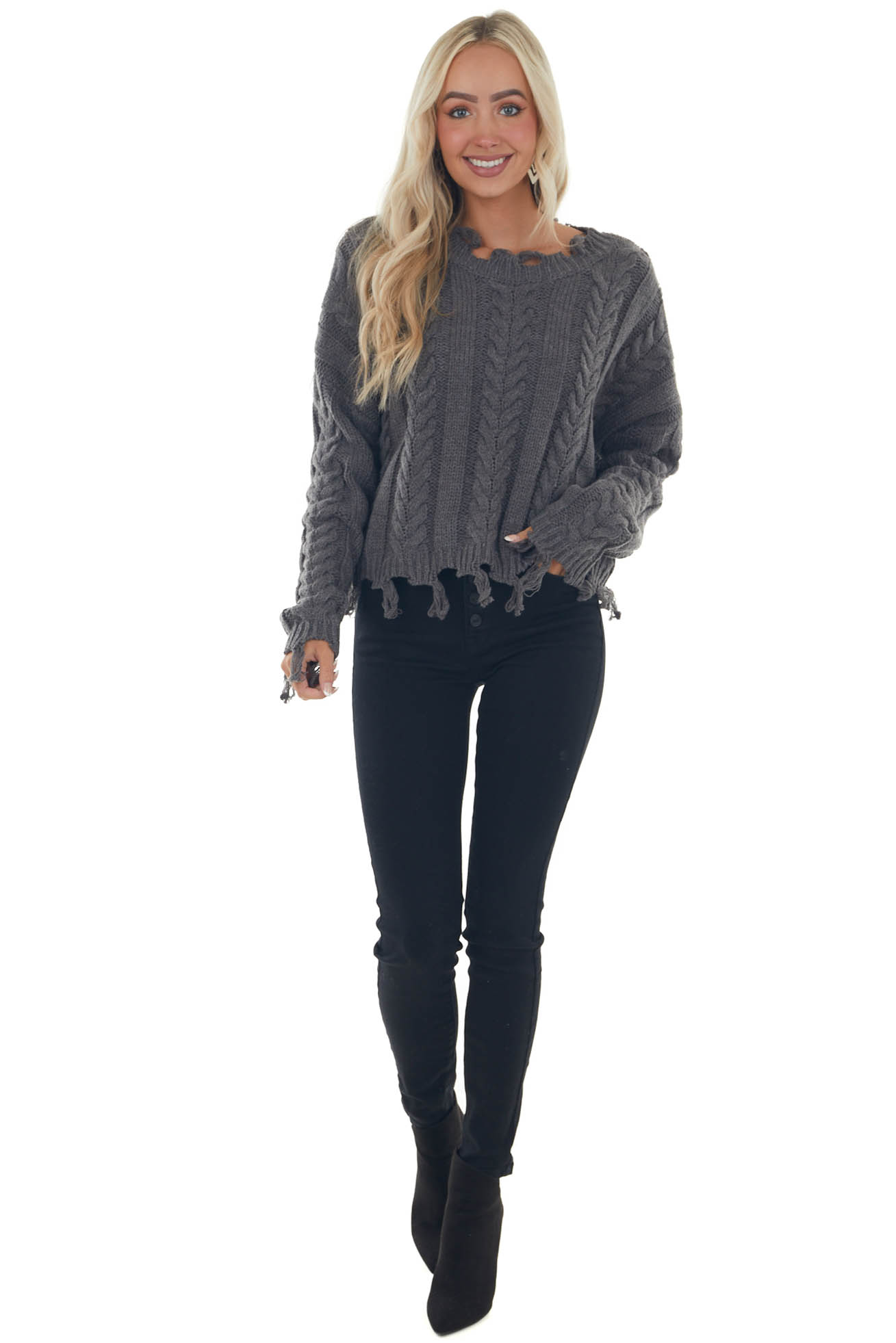 Charcoal Cable Knit Tassel Edge Sweater