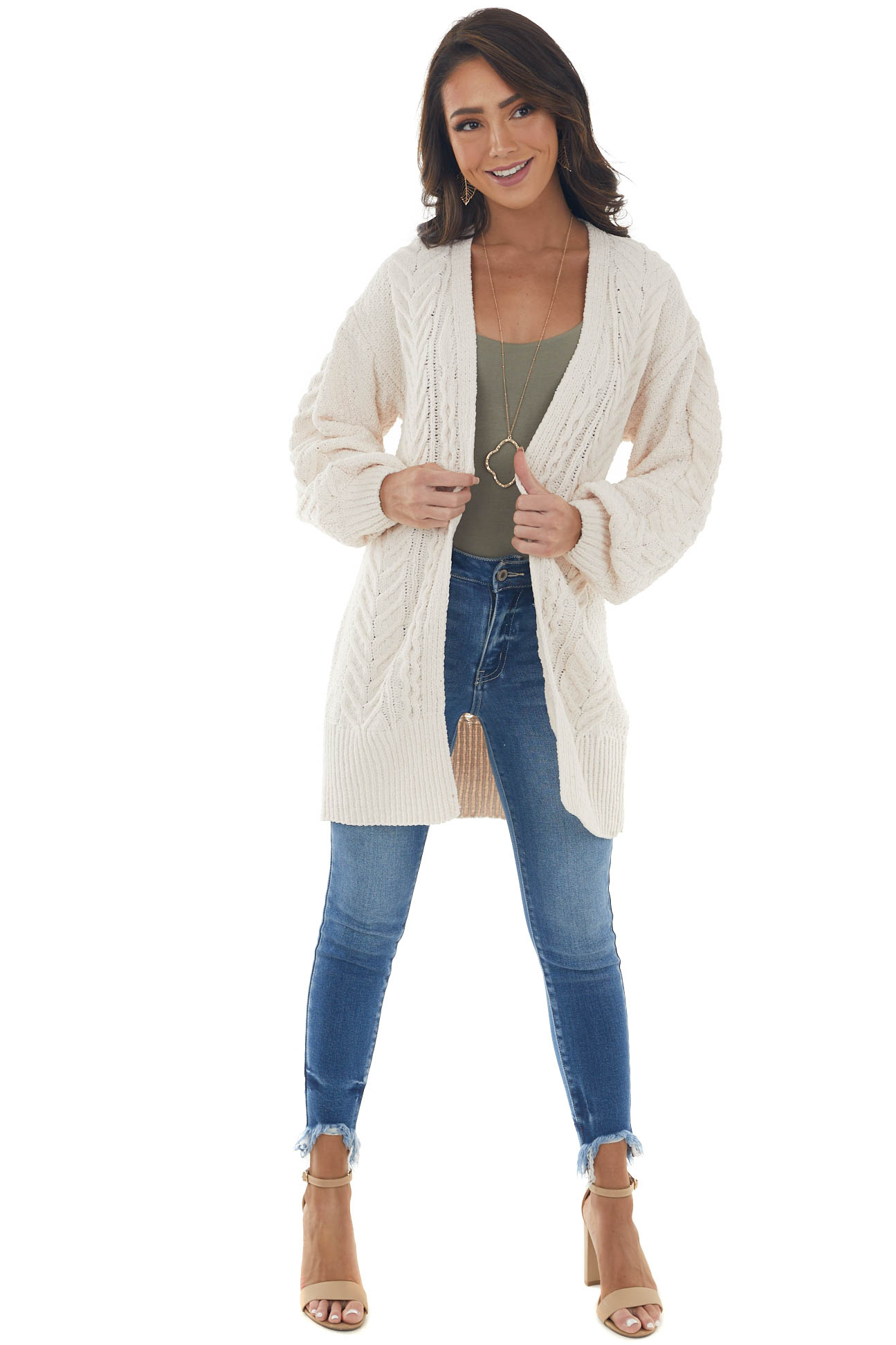 Vanilla Chenille Thick Cable Knit Cardigan
