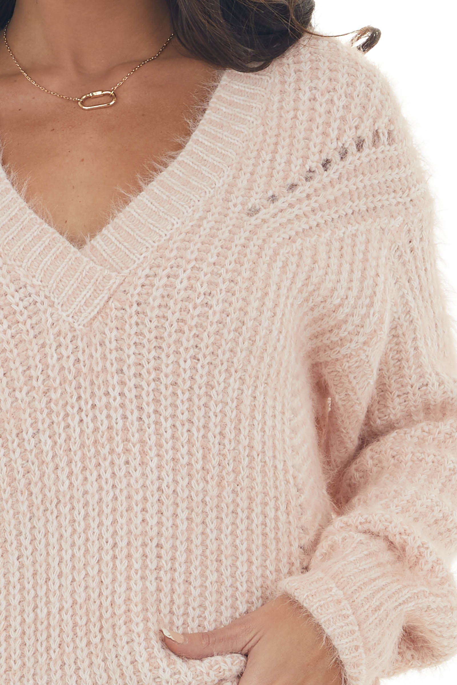 Blush V Neck Fuzzy Knit Sweater with Cut Outs