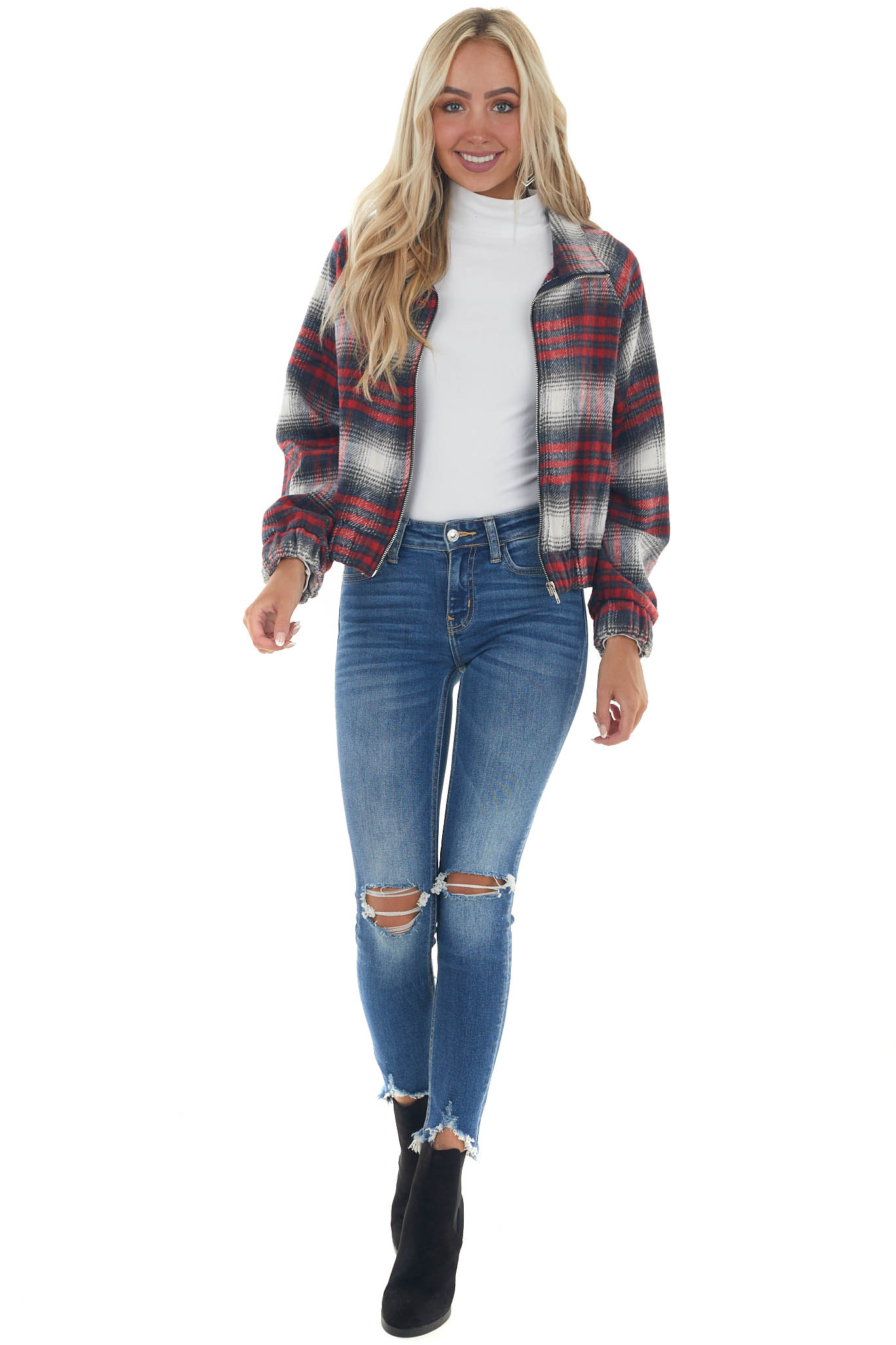 Cranberry Plaid Zip Up Jacket with Pockets