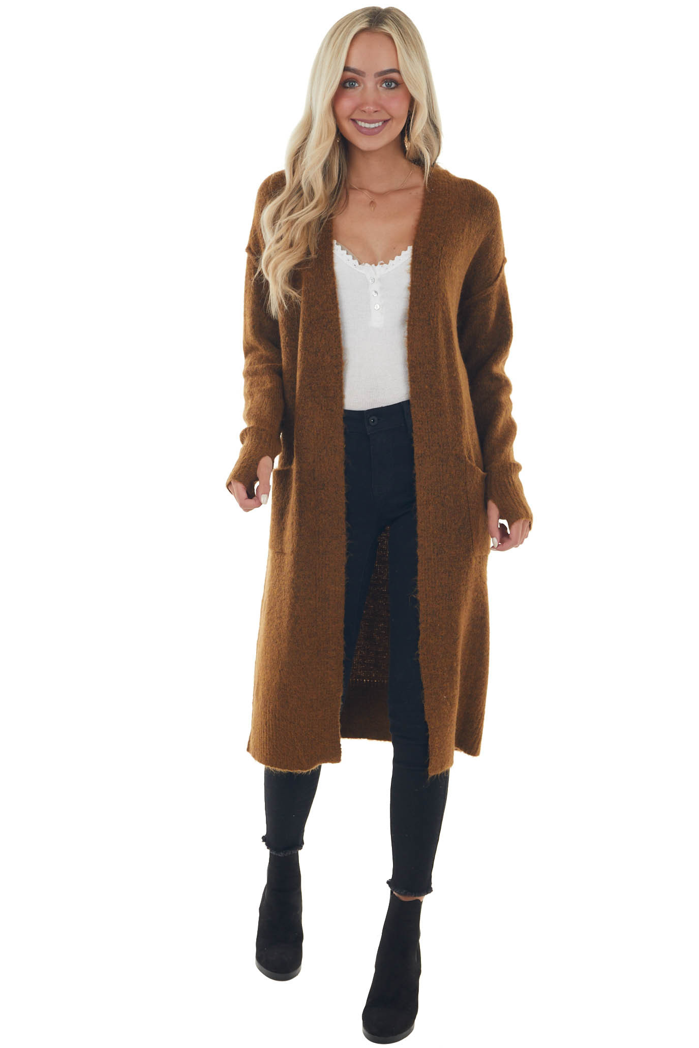Sepia Duster Length Knit Cardigan with Pockets