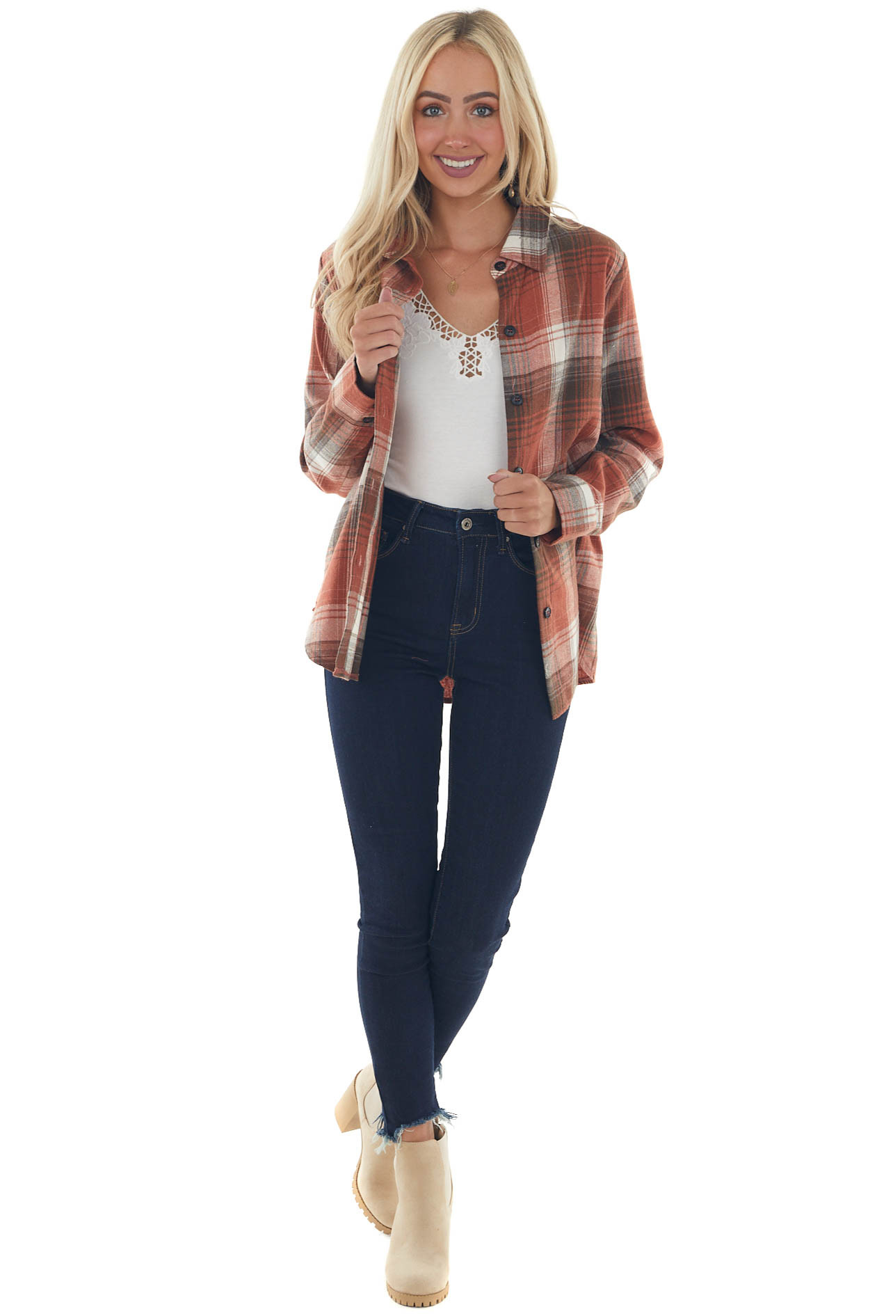 Fire and Charcoal Plaid Long Sleeve Flannel
