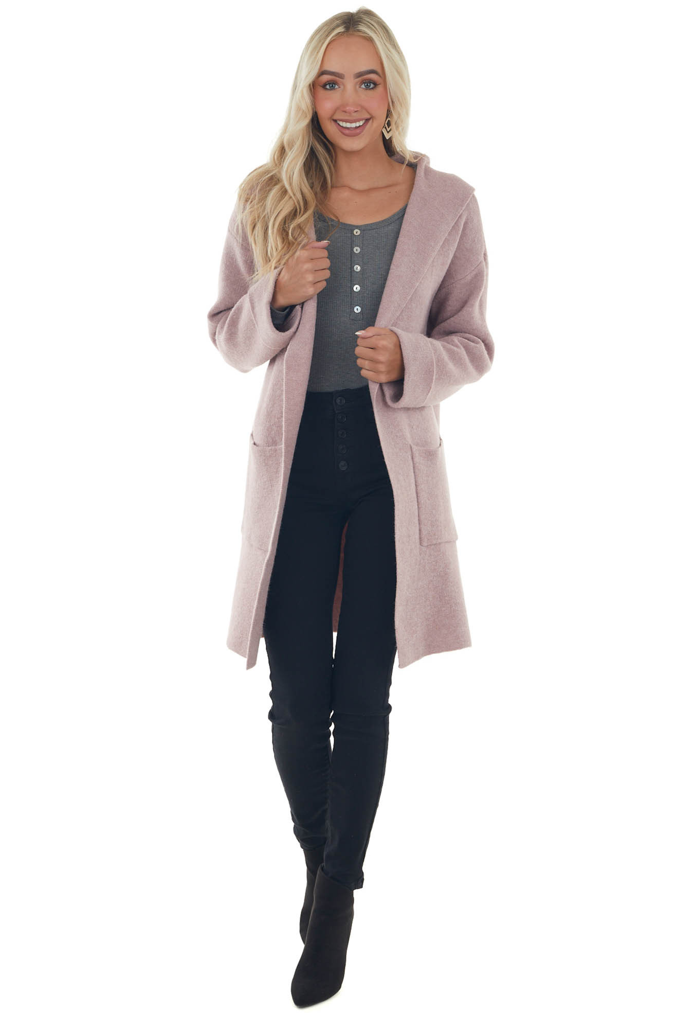Light Mauve Open Front Hooded Knit Cardigan