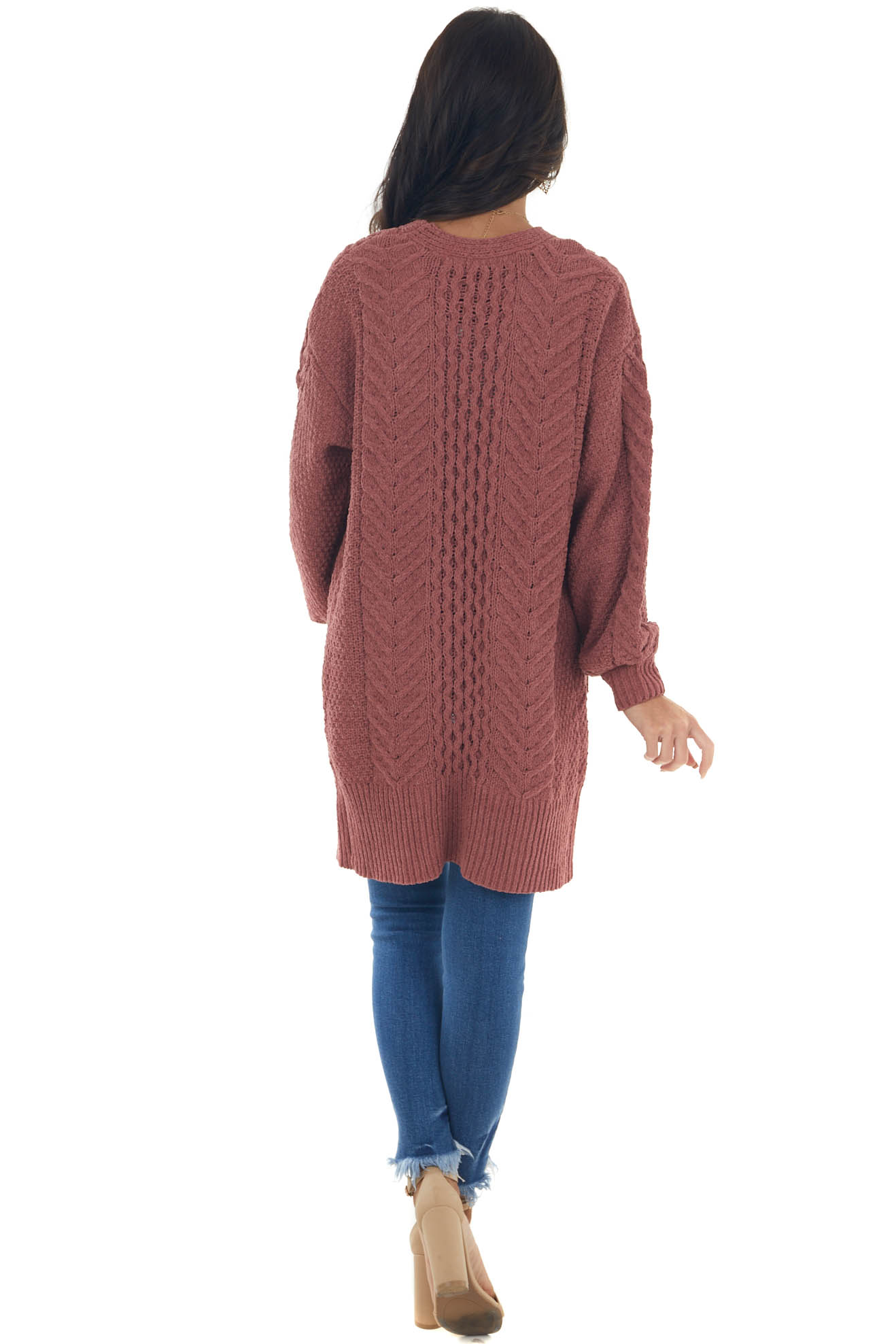 Marsala Chenille Thick Cable Knit Cardigan