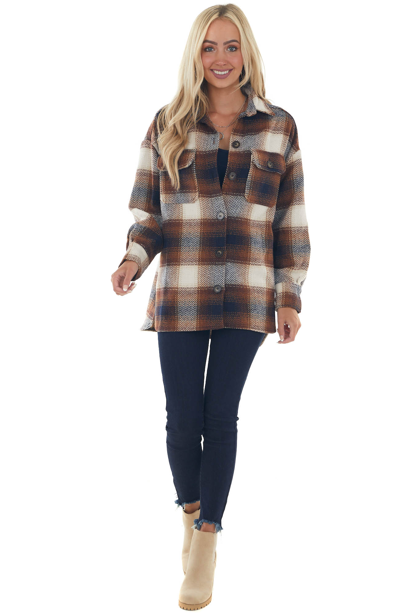 Cognac and Navy Plaid Flannel Woven Jacket