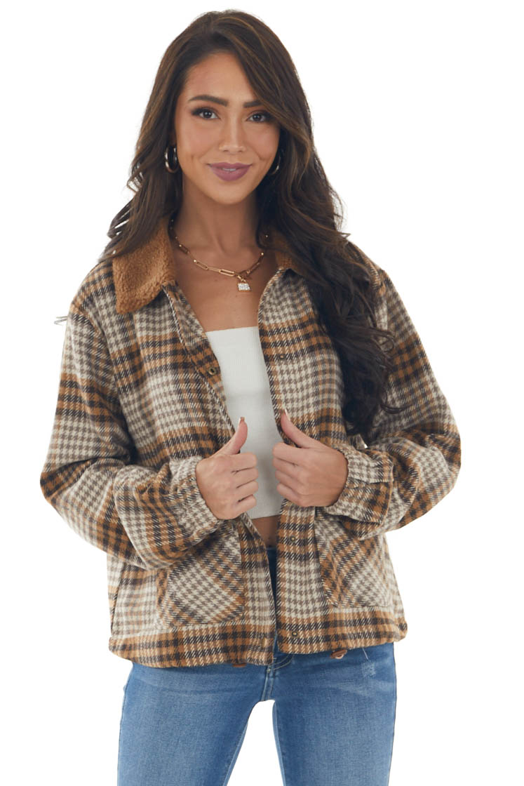 Sepia Plaid Button Up Jacket with Cinch Waist