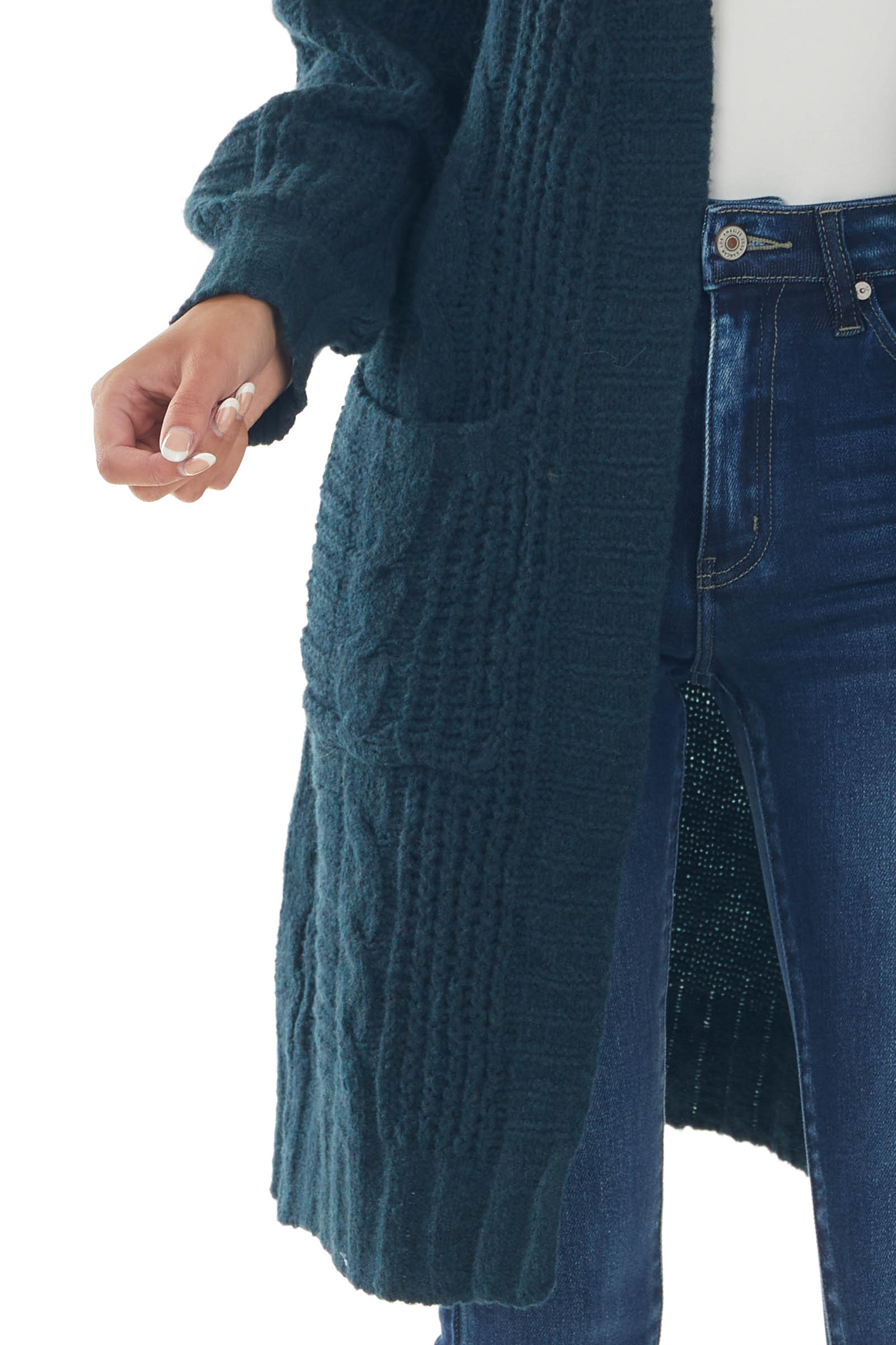 Dark Teal Open Front Twisted Knit Cardigan
