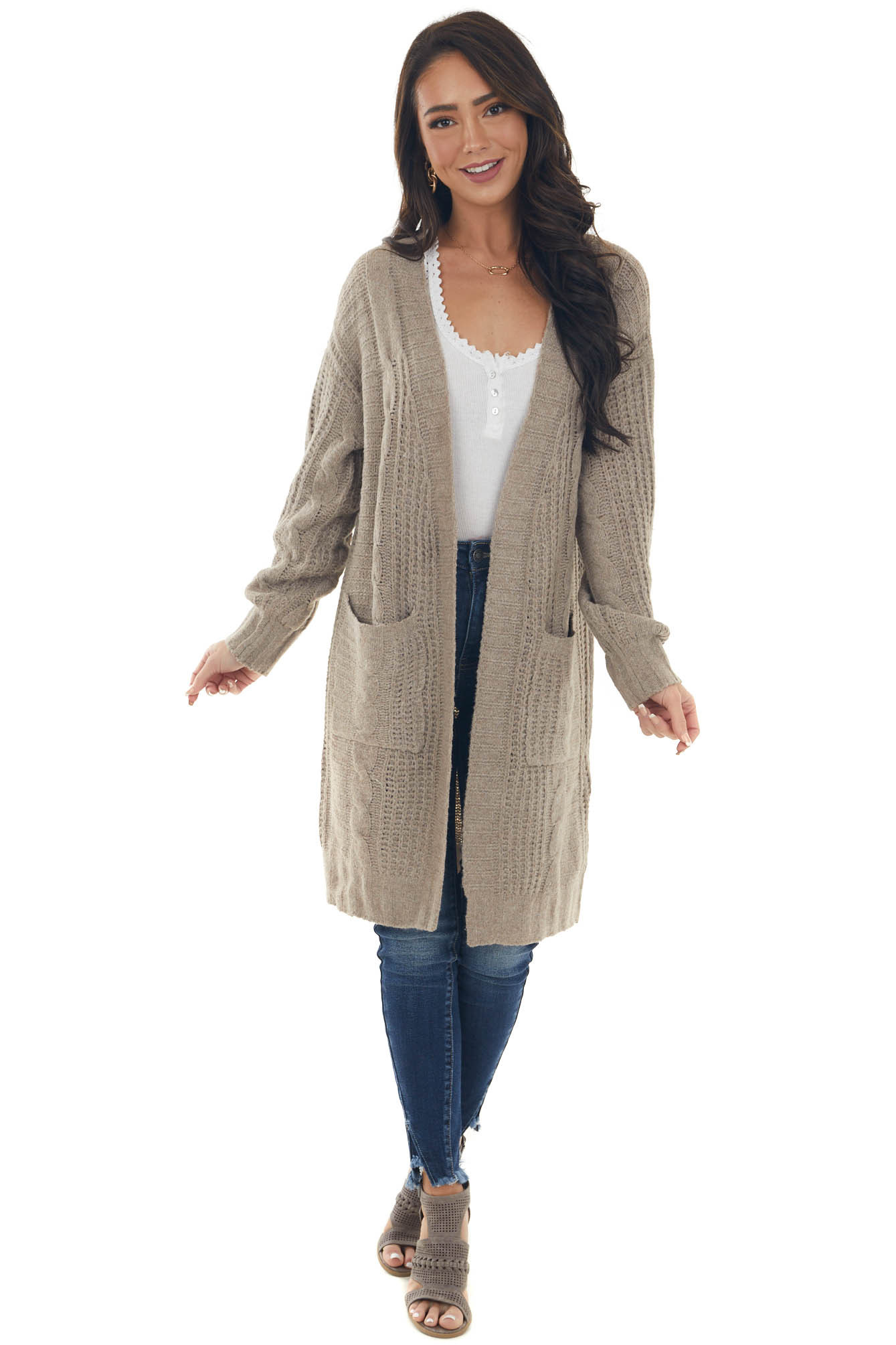 Taupe Open Front Twisted Knit Cardigan