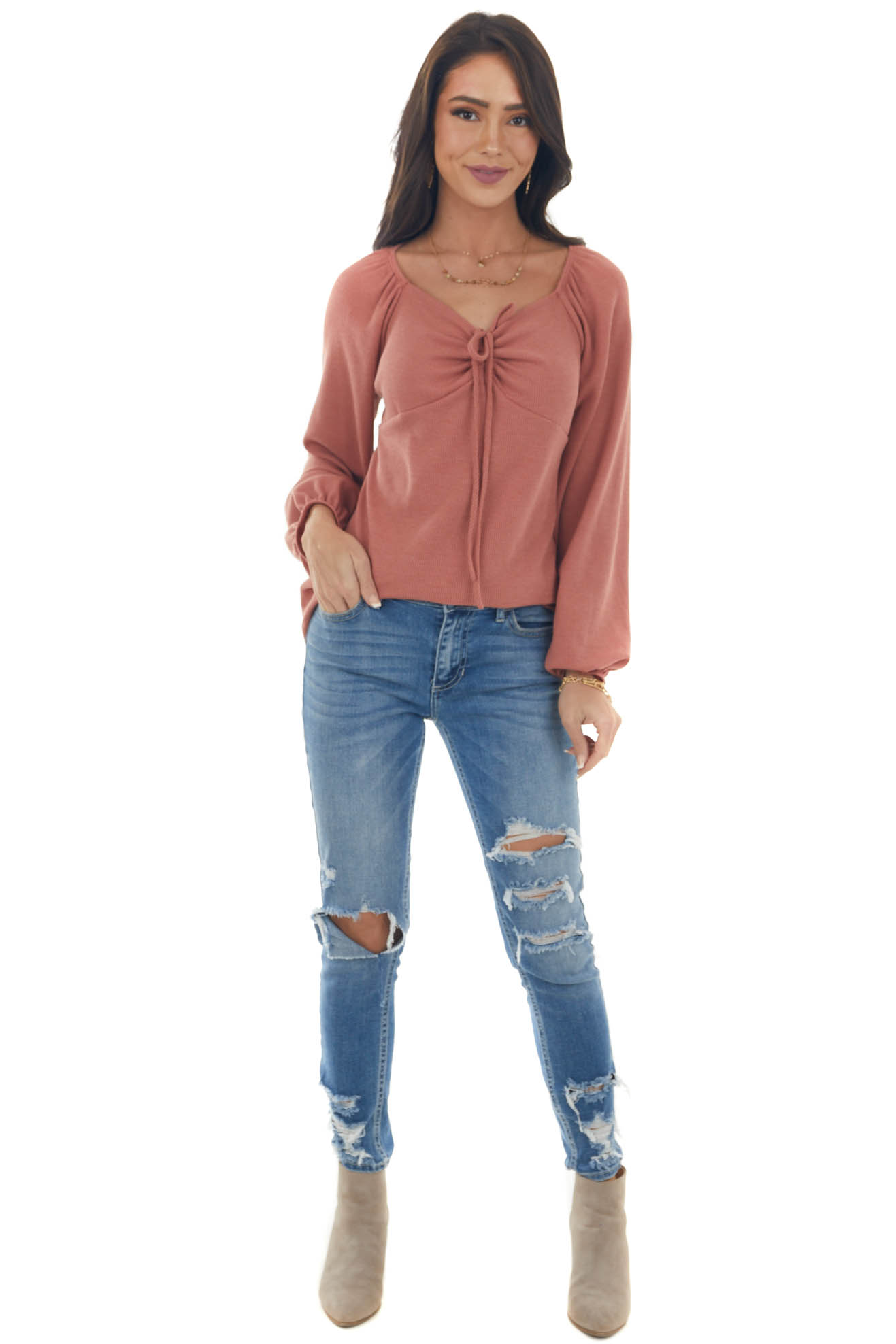 Terracotta Long Sleeve Ruched Knit Top