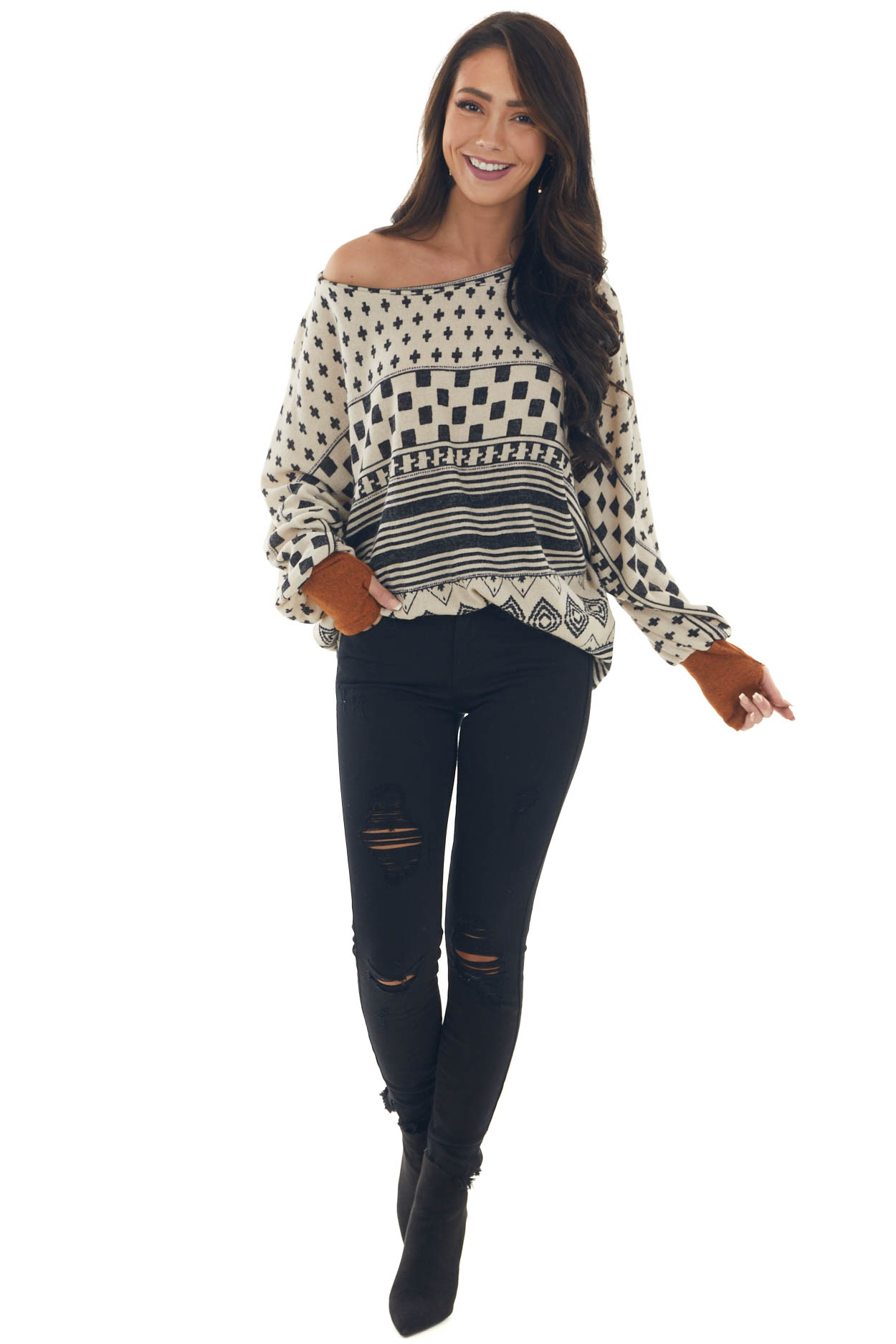 Desert Sand Abstract Print Top with Thumbholes