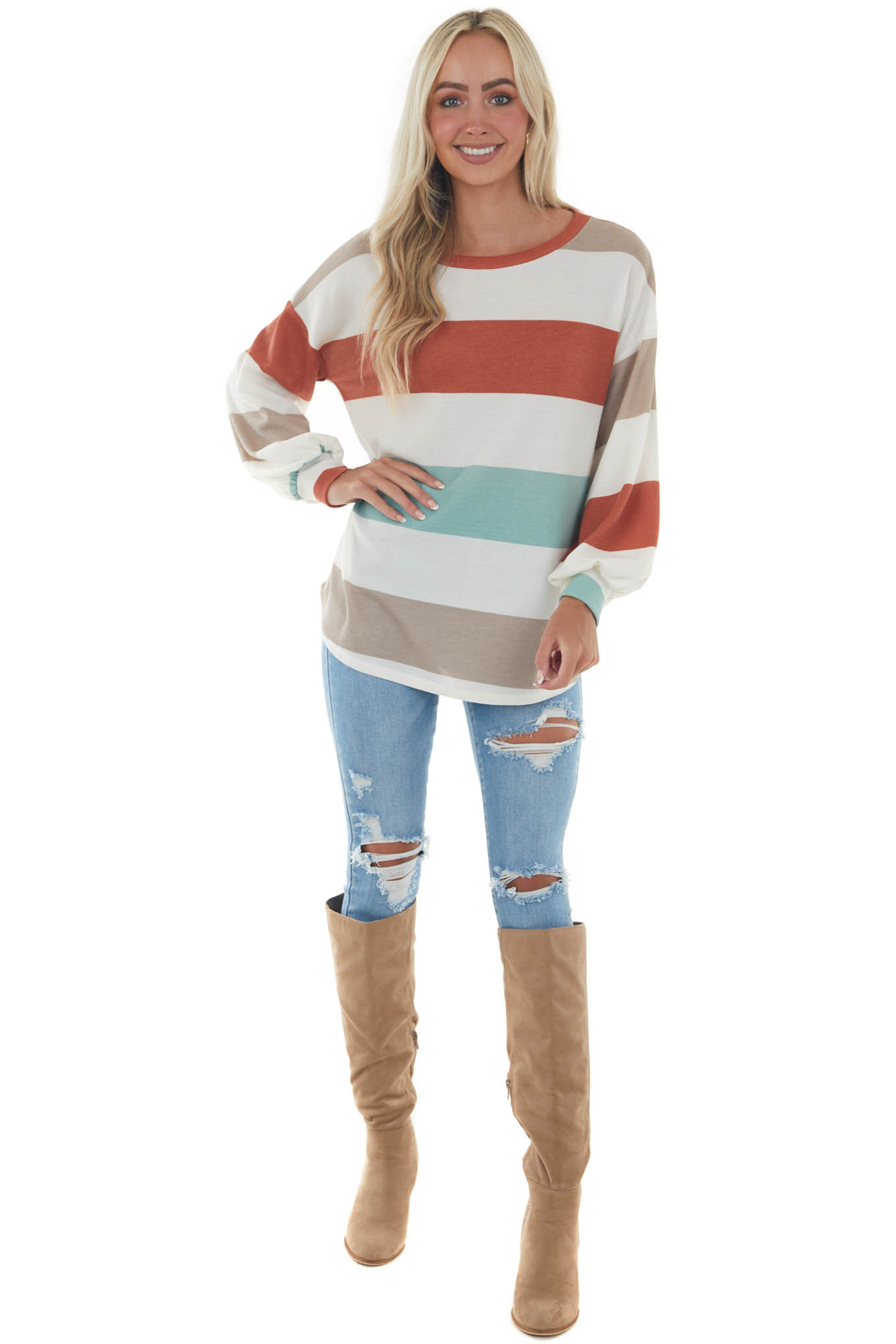 Rust and Mint Striped Thermal Knit Top
