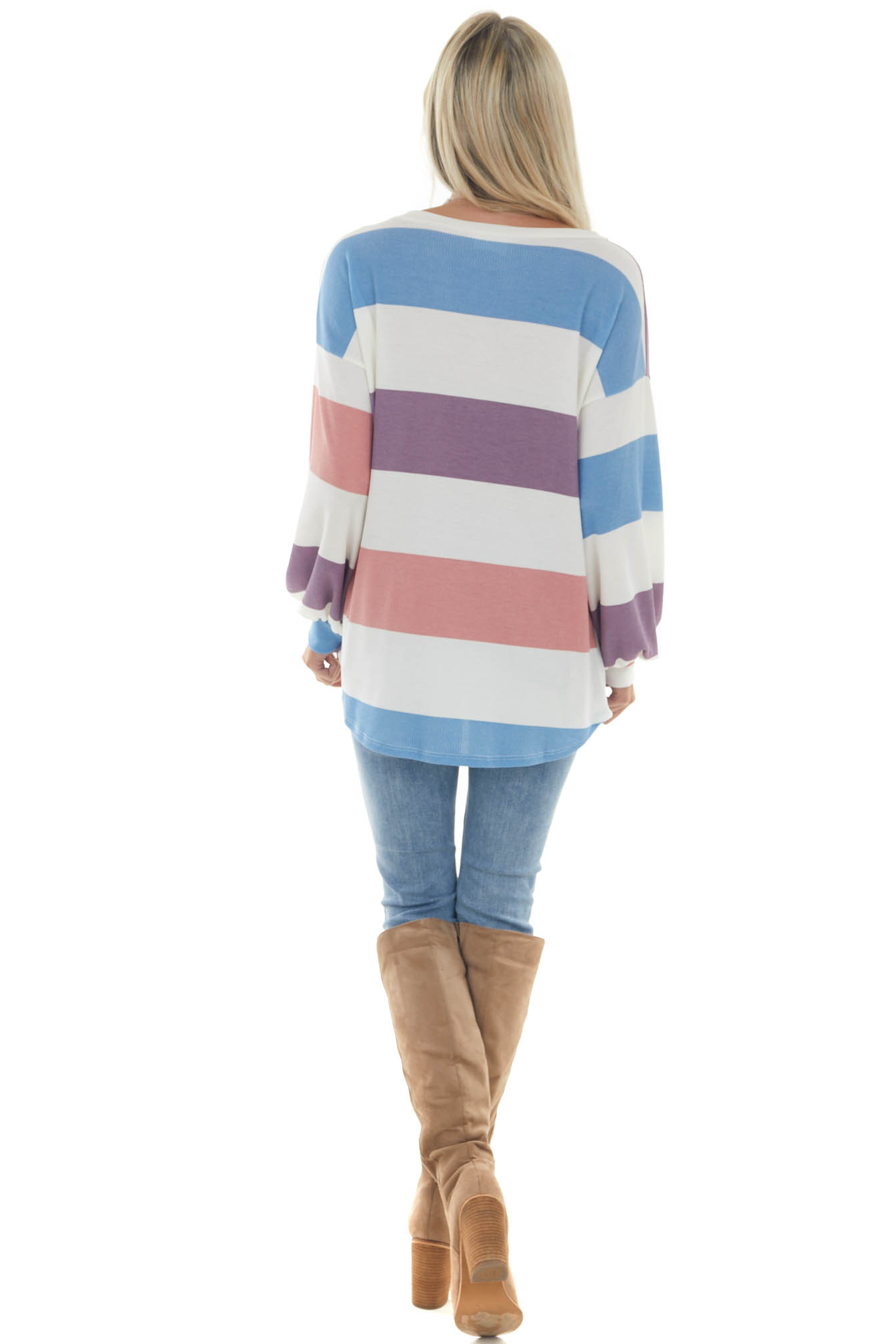 Lilac and Cornflower Striped Thermal Knit Top
