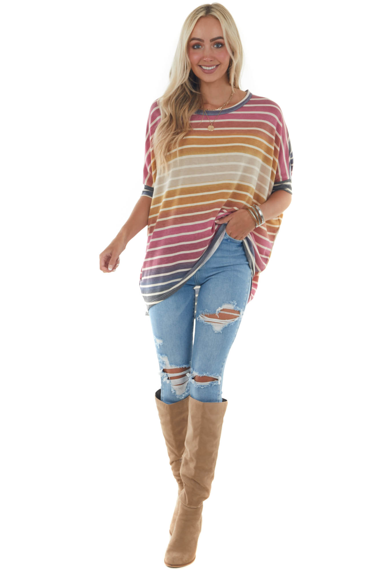 Mulberry Striped Knit Top with High Low Hem
