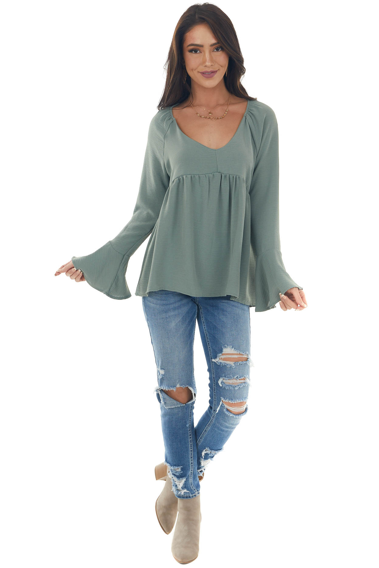 Dusty Olive Flare Sleeve Babydoll Woven Top
