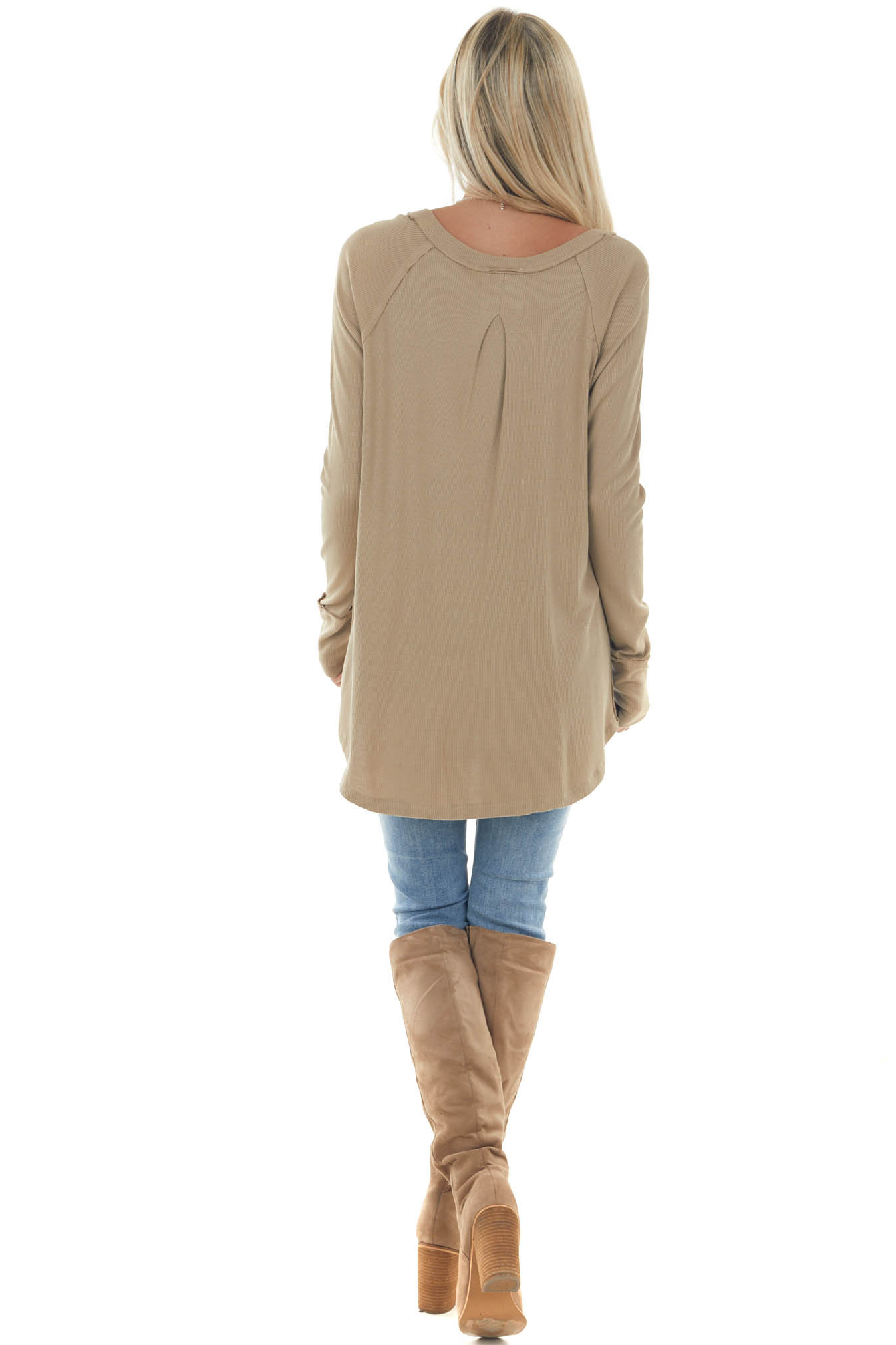 Faded Olive Long Sleeve Boat Neck Rib Knit Top
