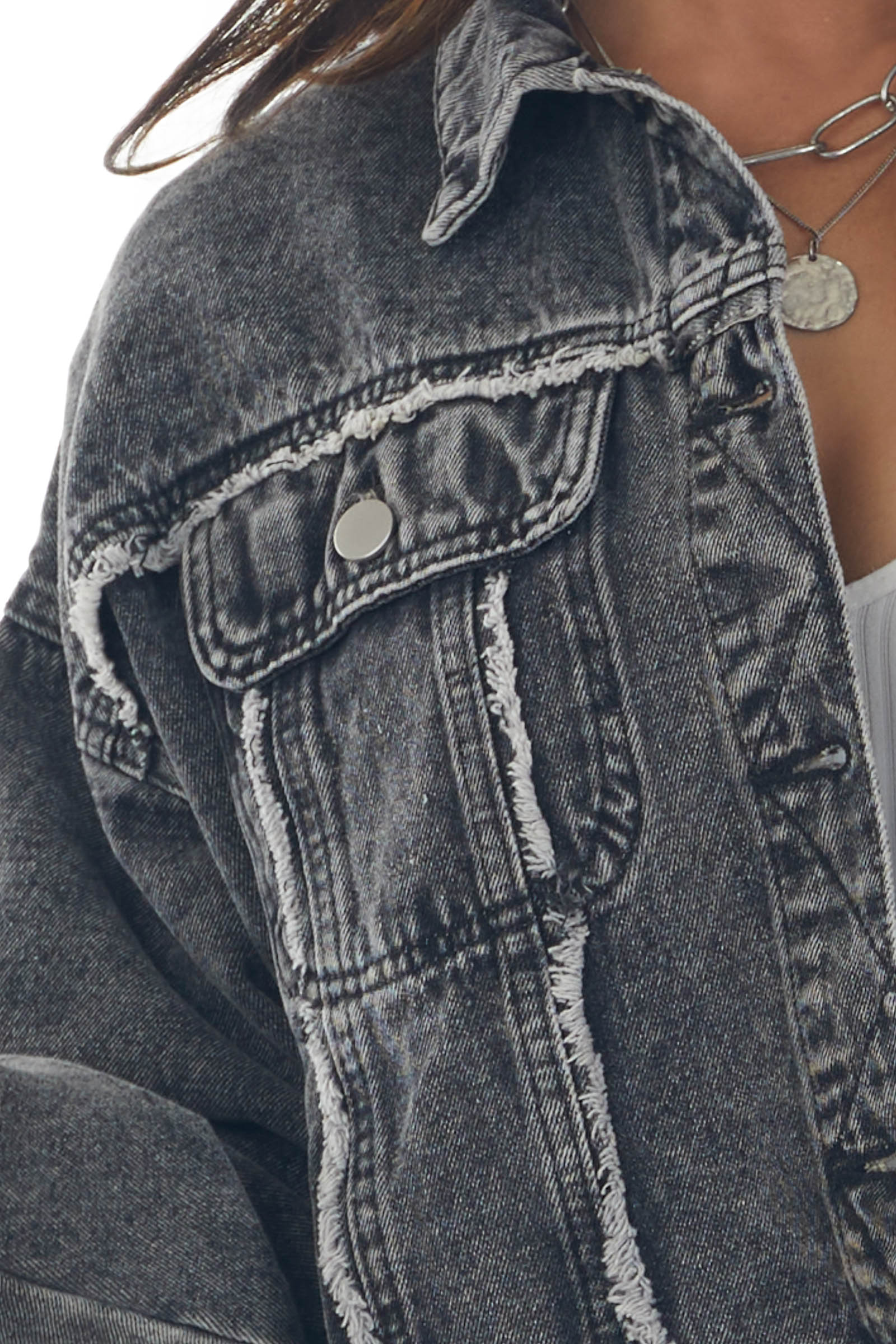 Charcoal Denim Jacket with Distressed Details