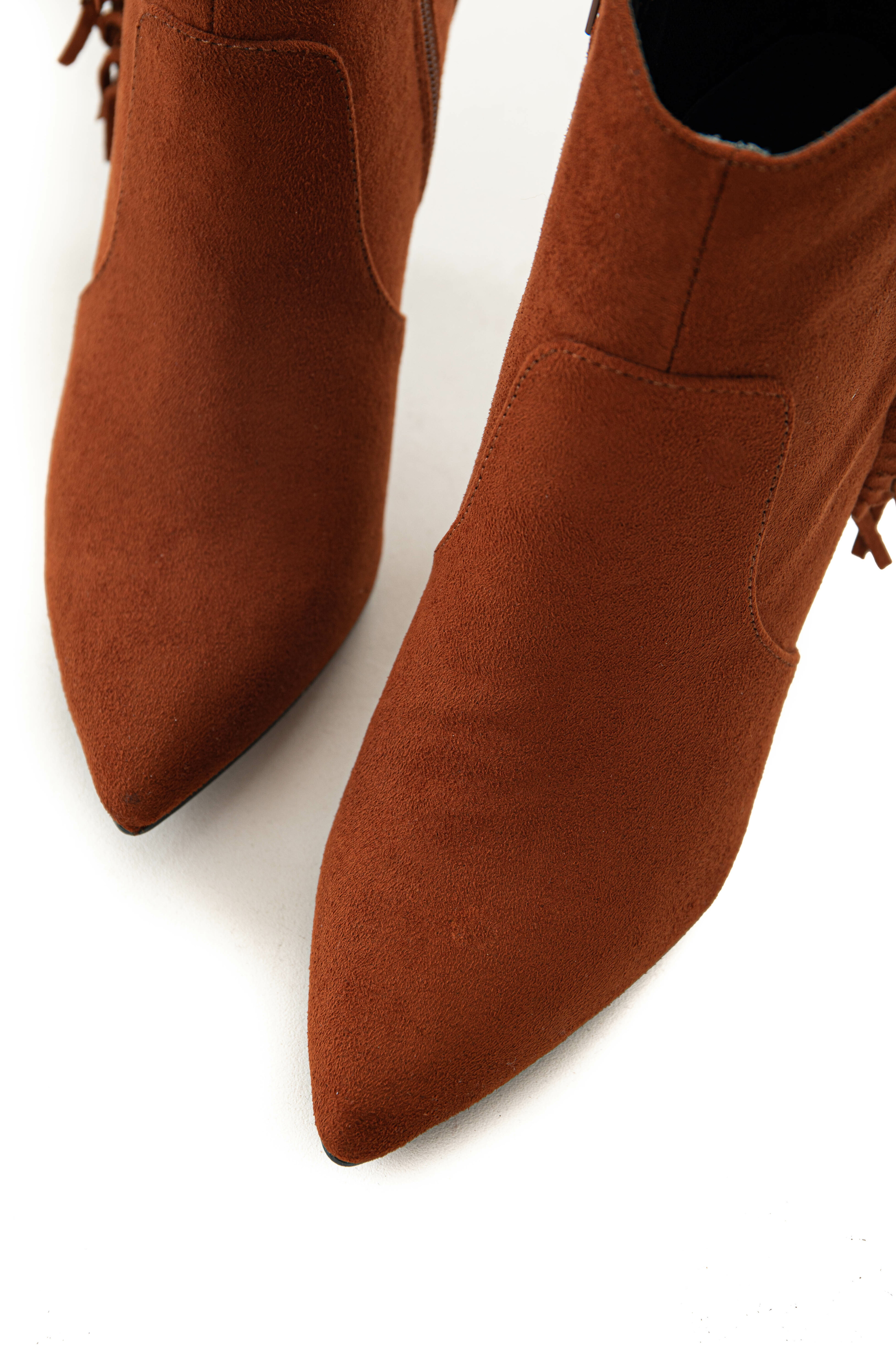 Dark Rust Faux Suede Bootie with Fringe Detail
