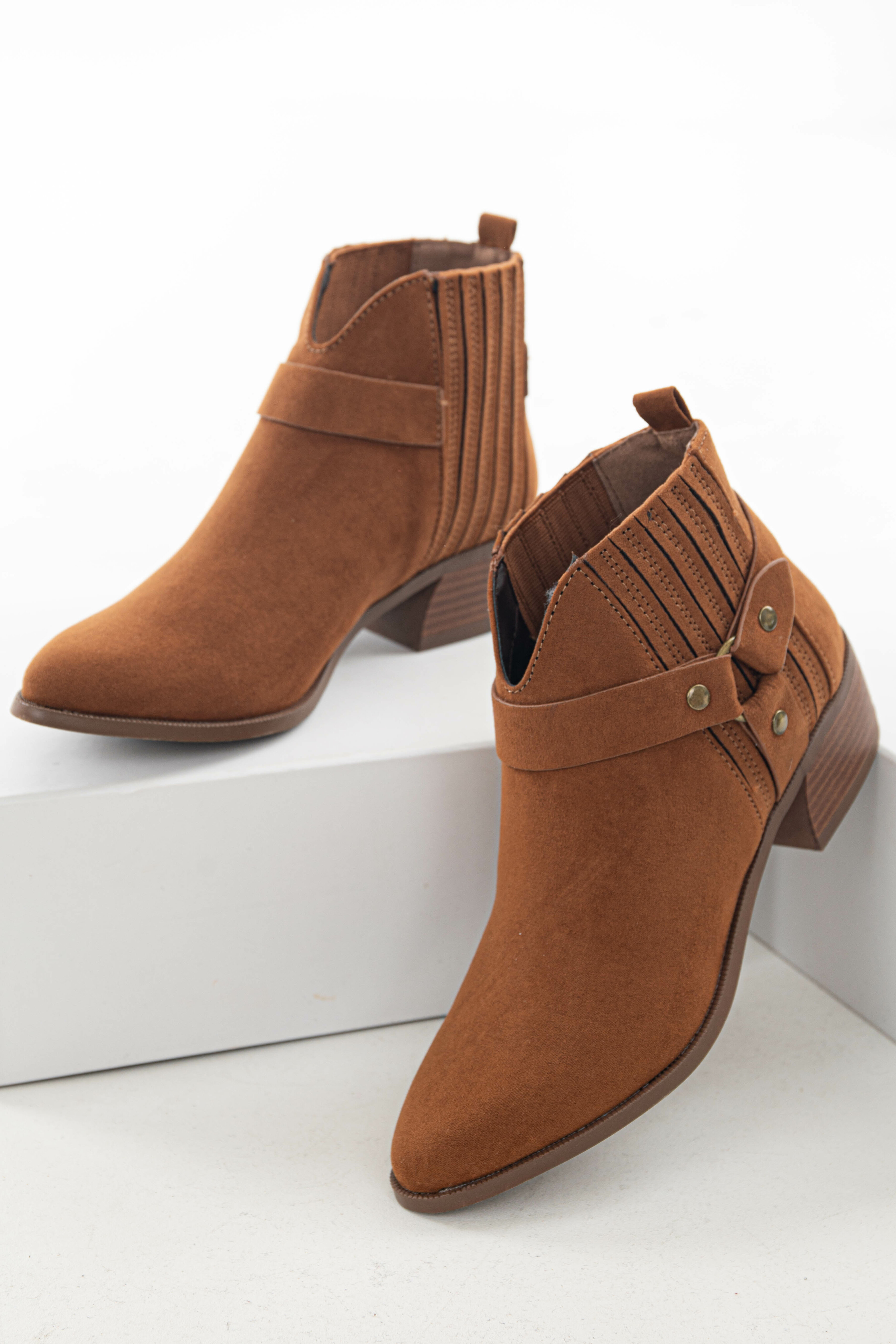 Sepia Faux Suede Paneled Bootie with Harness