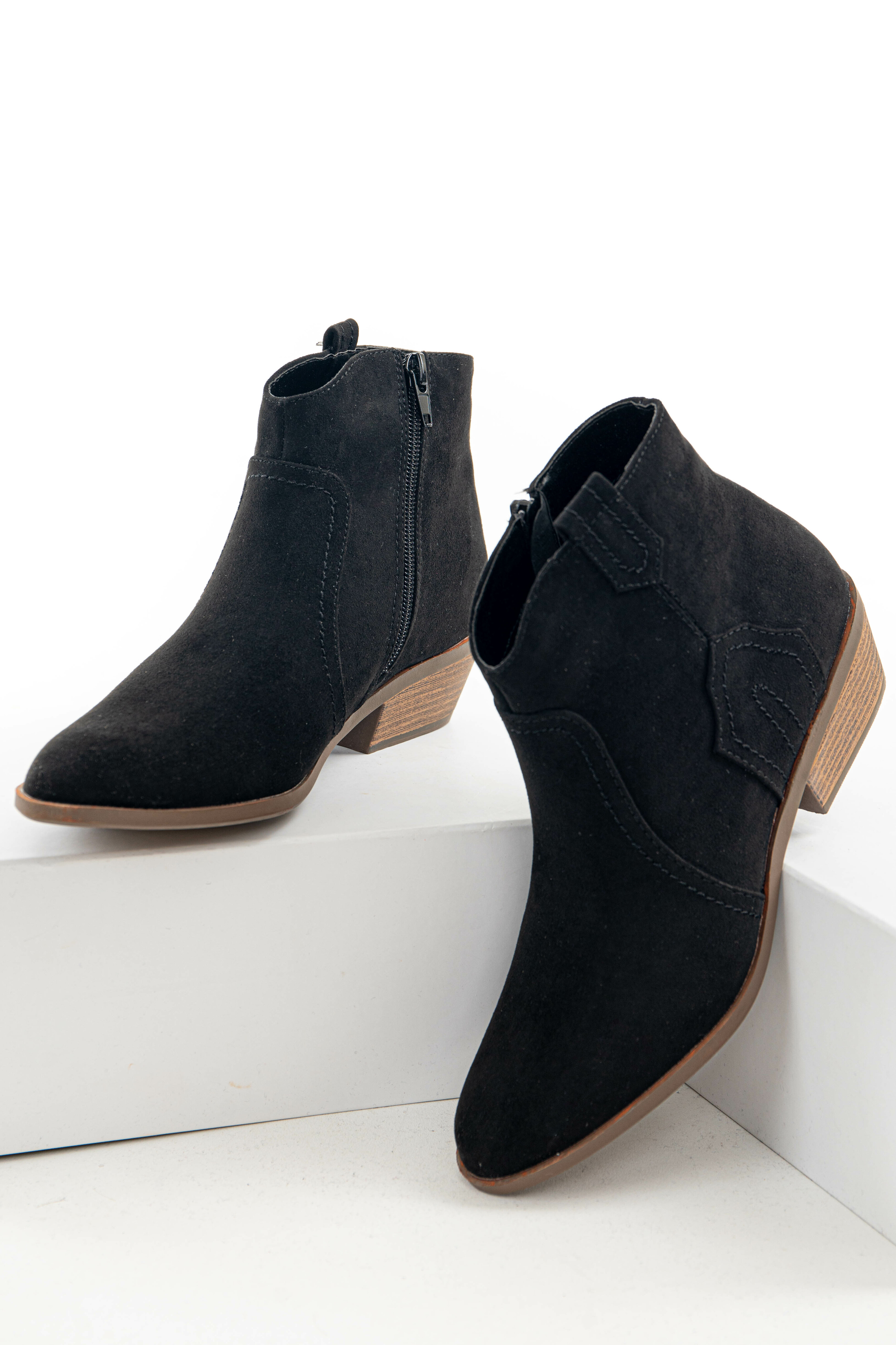 Black Faux Suede Western Style Zip Up Bootie
