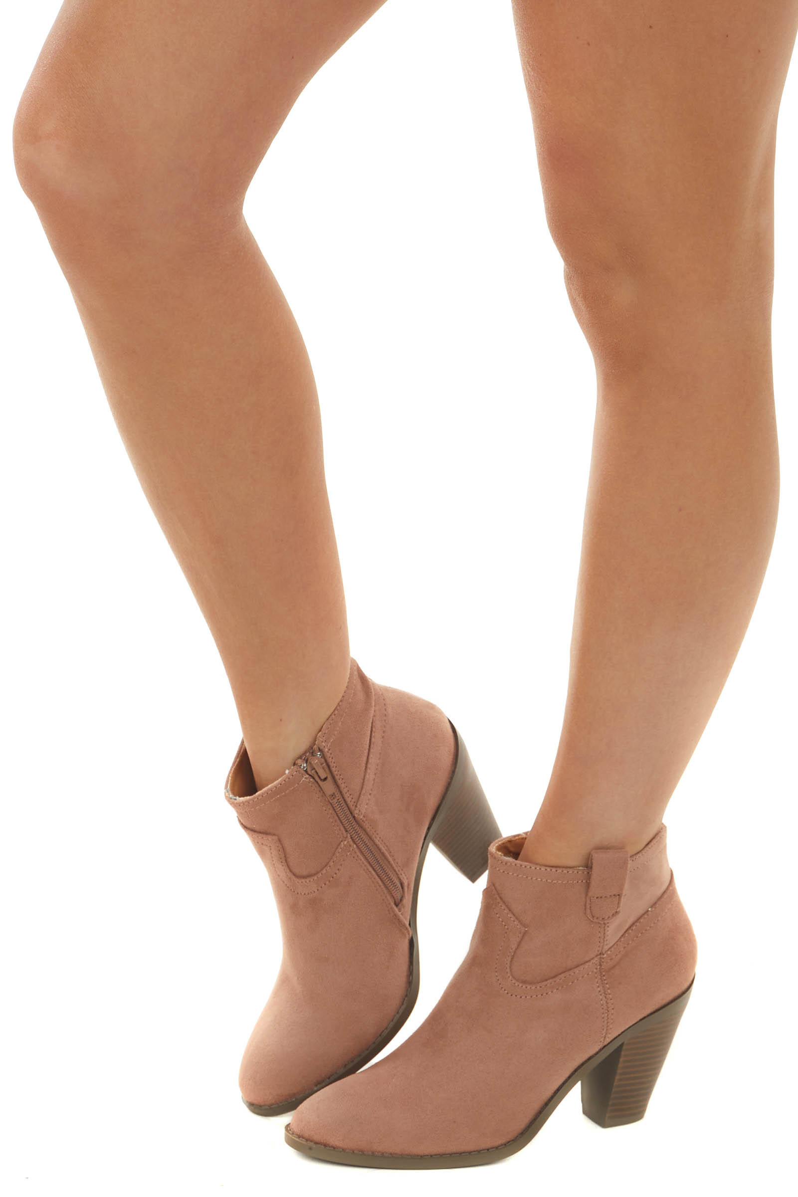 Apricot Faux Suede Rounded Toe Heeled Bootie