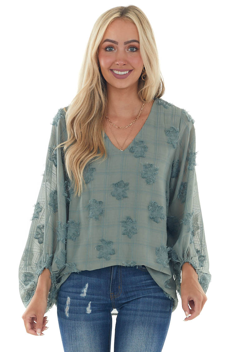 Sage Frayed Floral Textured Puff Sleeve Blouse