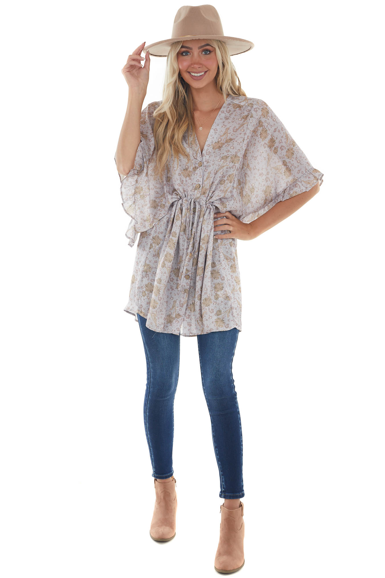 Lavender Grey Floral Button Up Tunic Satin Top