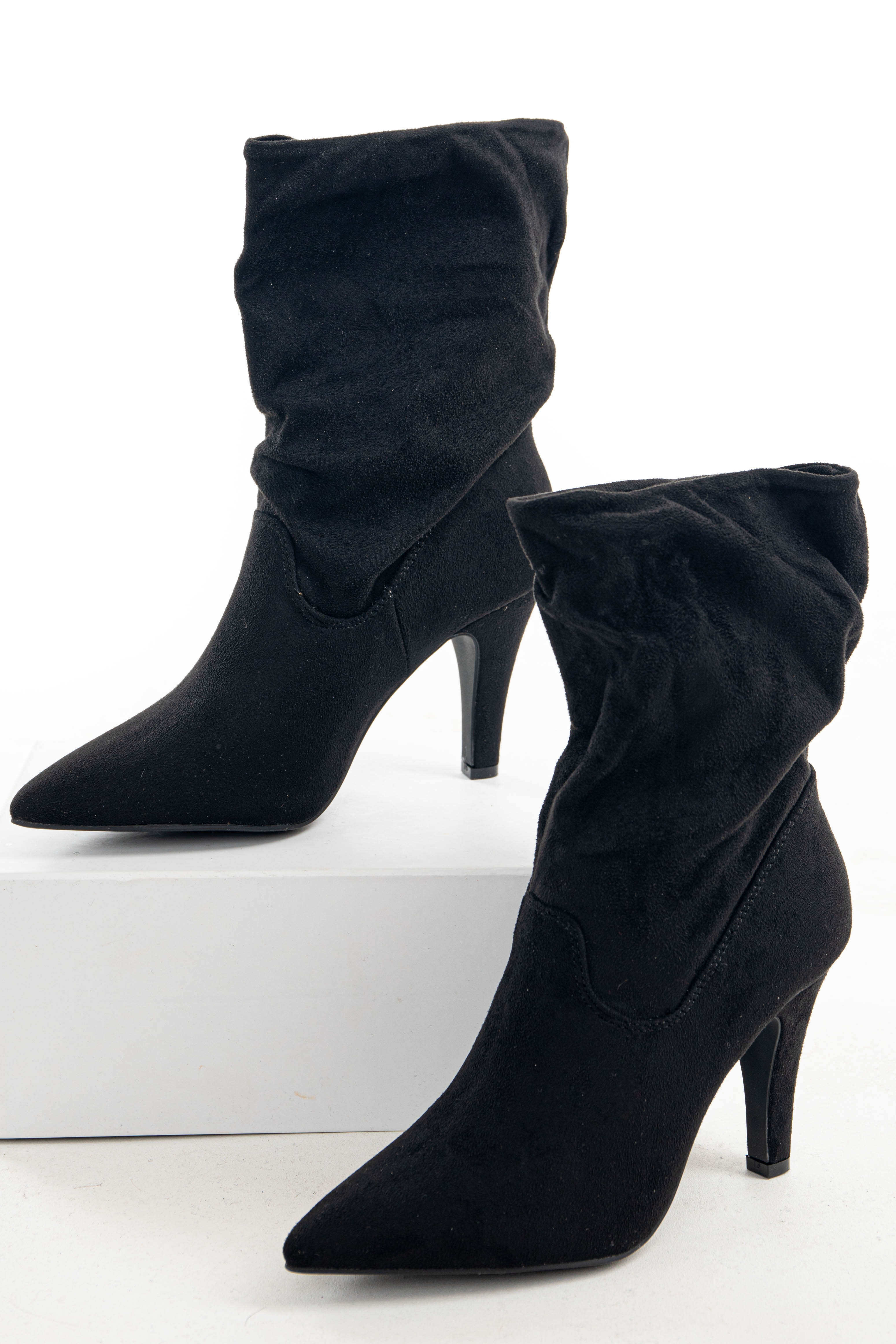 Black Suede Ankle High Slouchy Heeled Boots