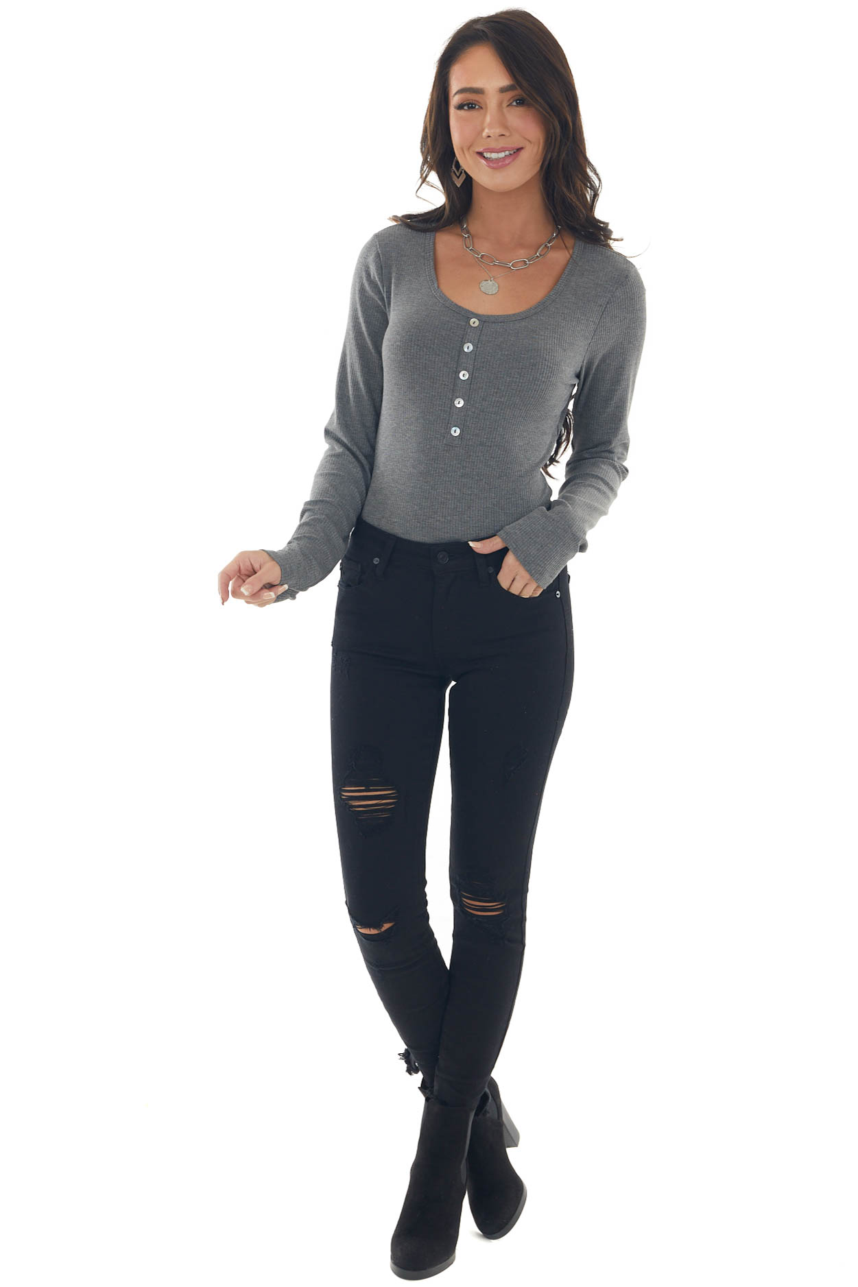 Graphite Ribbed Long Sleeve Henley Top