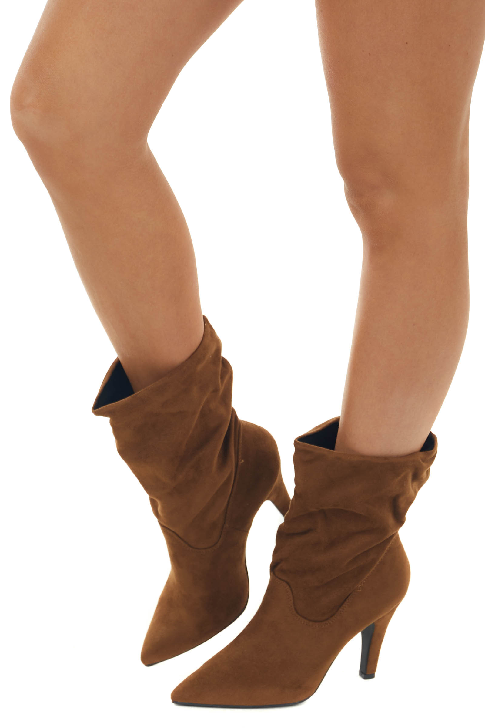 Sepia Suede Ankle High Slouchy Heeled Boots