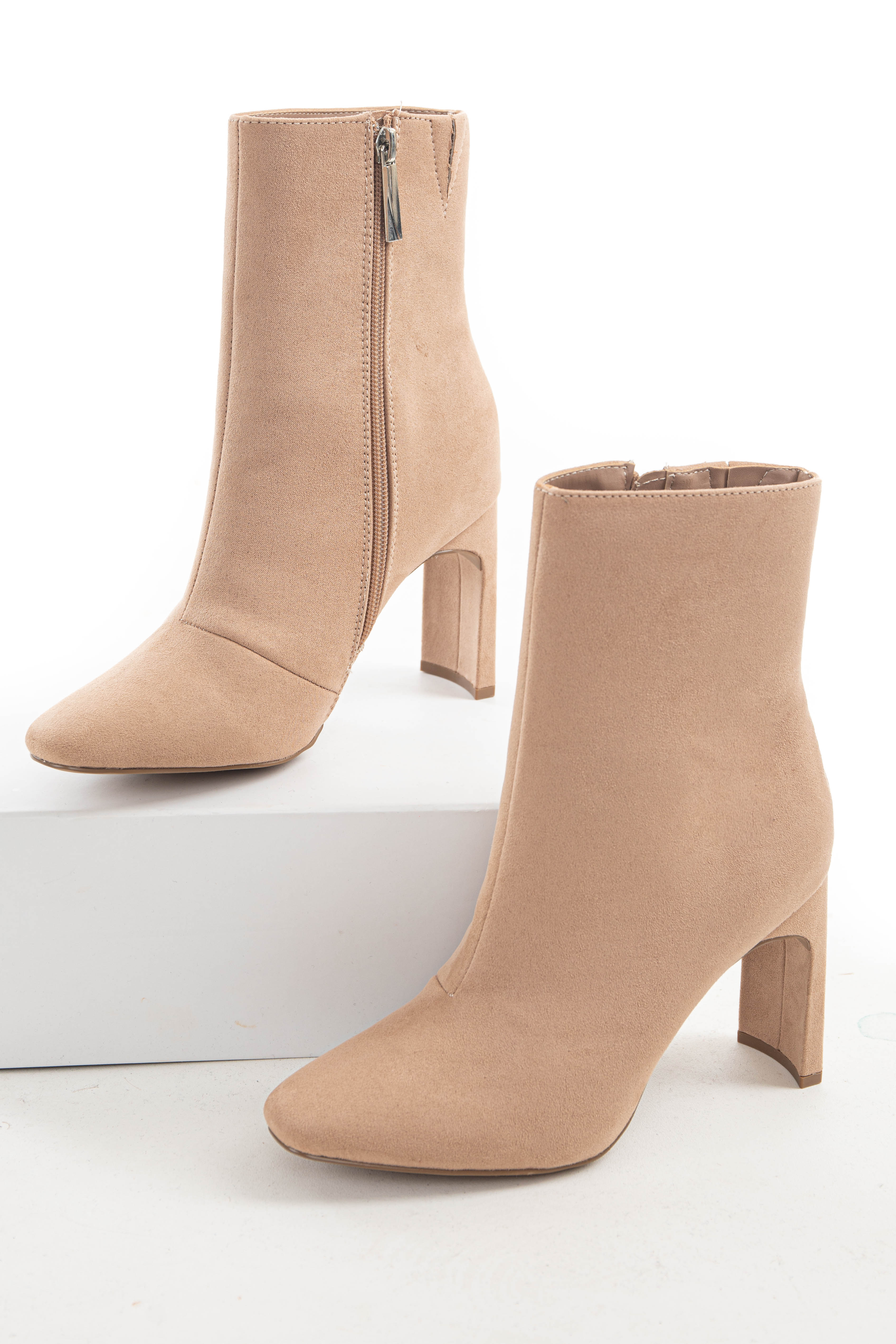 Nude Faux Suede Thin Curved High Heeled Bootie